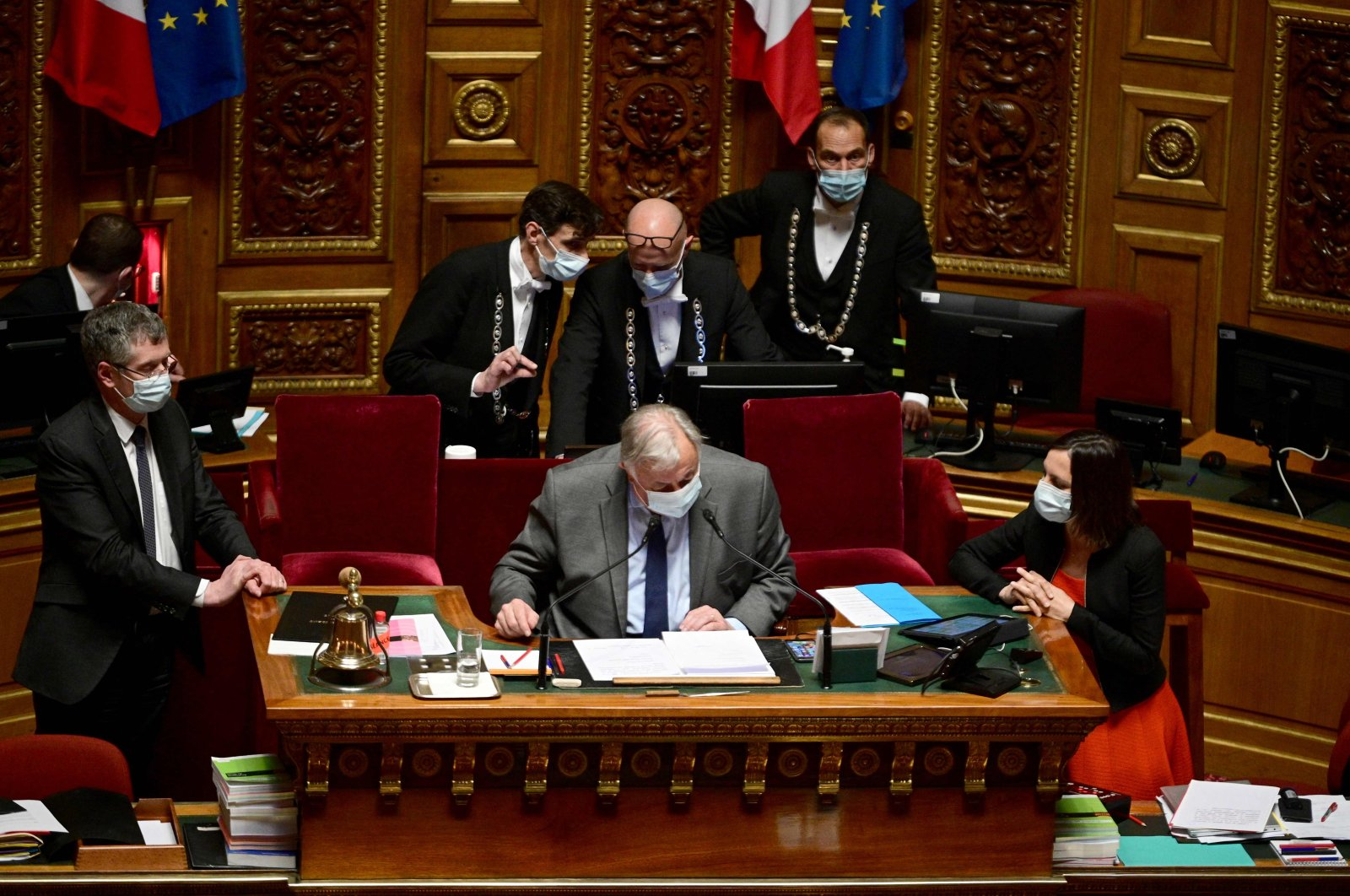 French Senate President Gerard Larcher chairs a session at the French Senate, Paris, France, April 1, 2021. (AFP Photo)