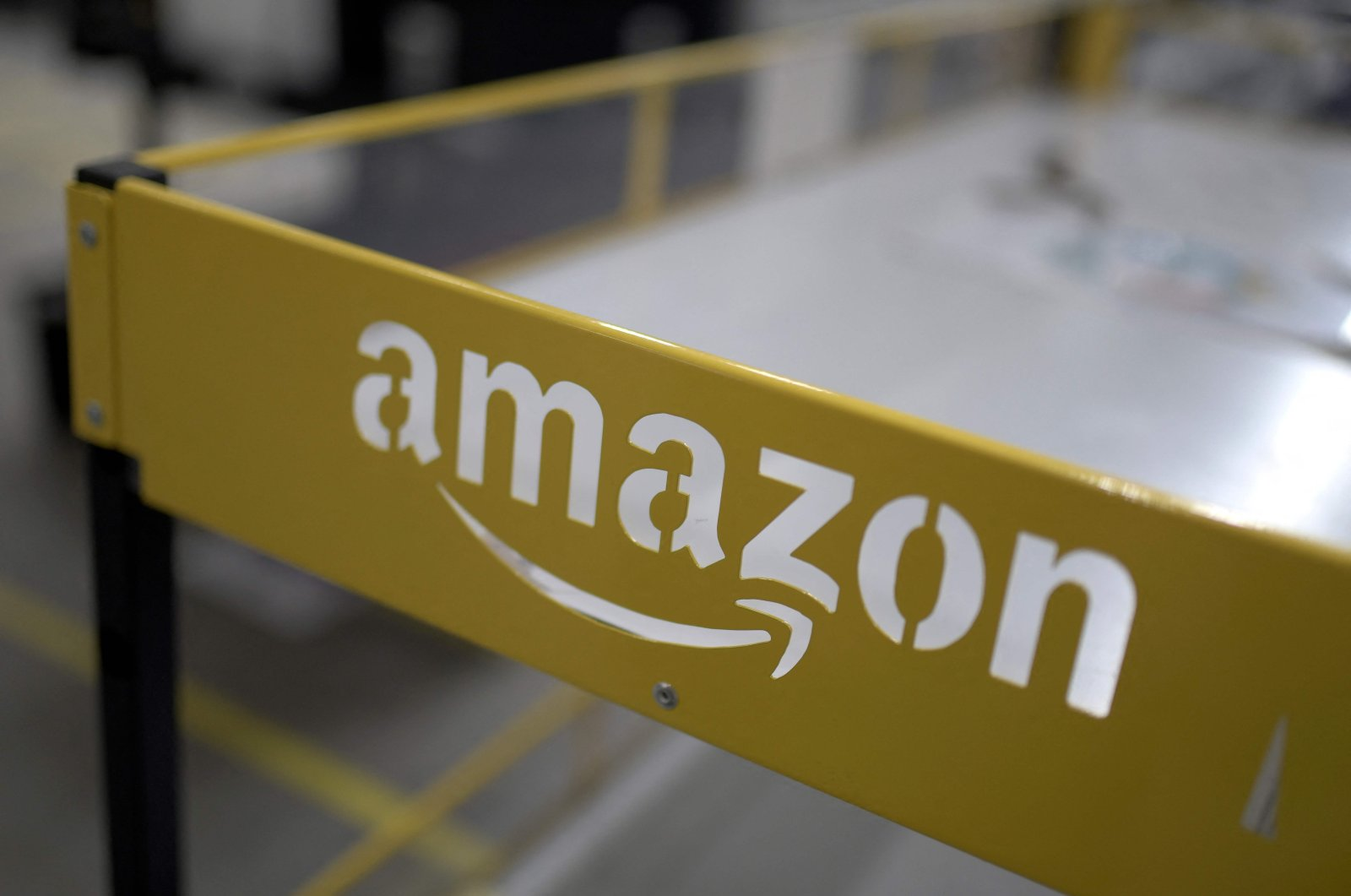 The logo of US online retail giant Amazon at the distribution center in Moenchengladbach, western Germany, Dec. 17, 2019. (AFP Photo)