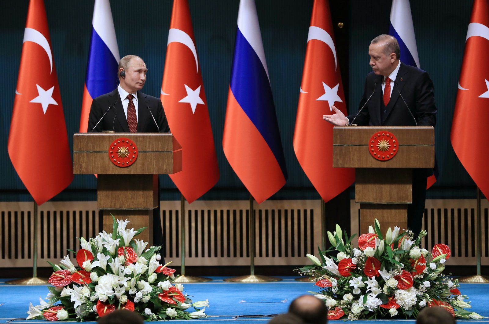 President Recep Tayyip Erdoğan and his Russian President Vladimir Putin in a joint press conference in Ankara, Turkey, April 3, 2018. (Photo courtesy of the Presidency)