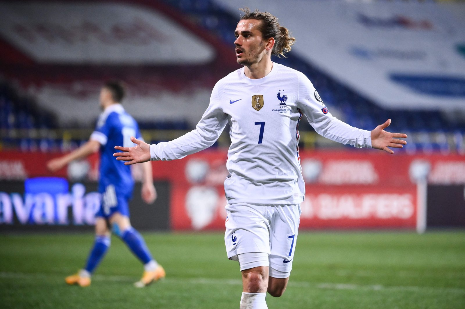 France's Antoine Griezmann celebrates after scoring a goal during the World Cup 2022 group D qualifying football match between Bosnia and France, at the Grbavica stadium in Sarajevo, Bosnia-Herzegovina, March 31, 2021. (AP Photo)