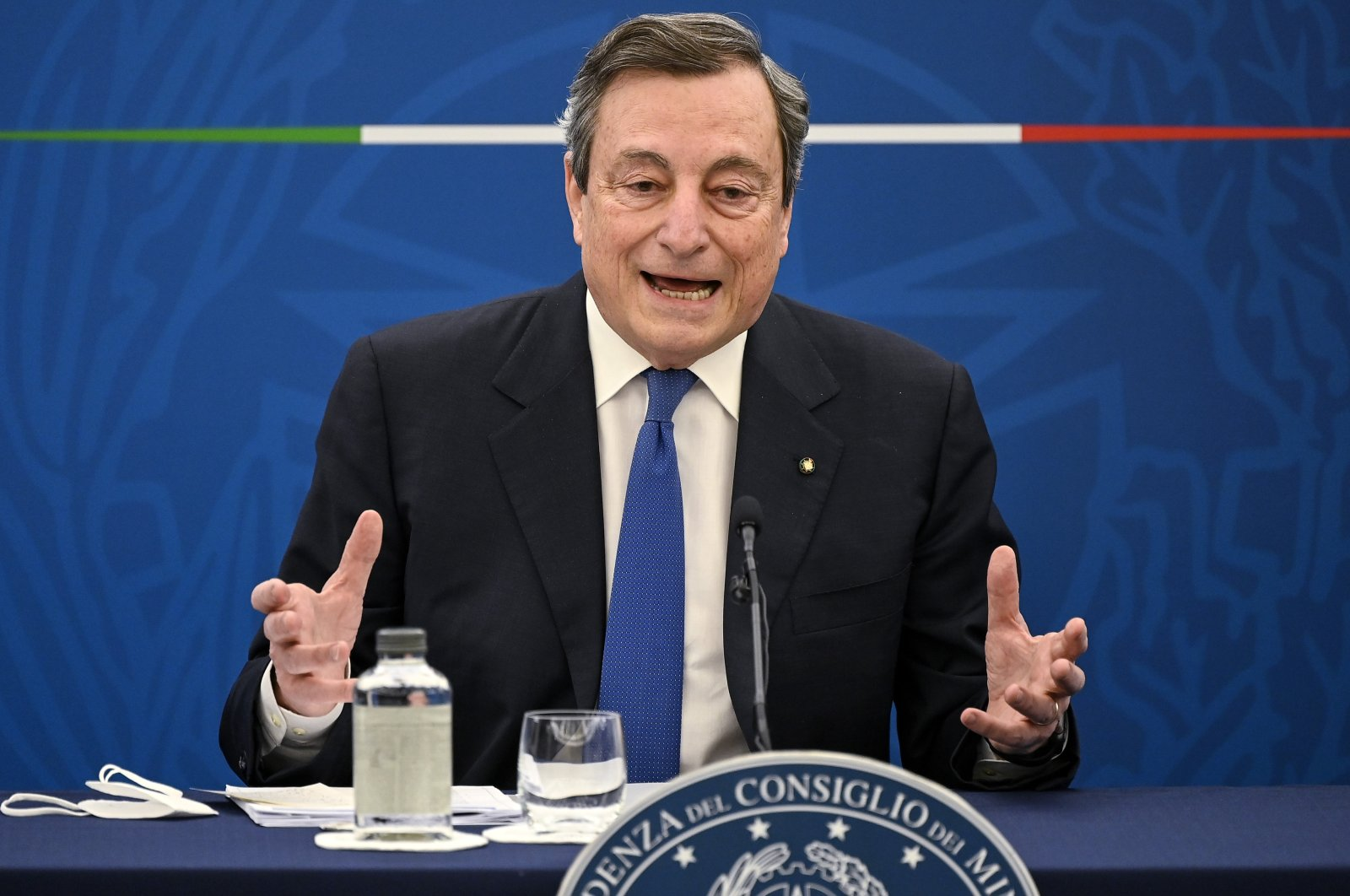 Italian Prime Minister Mario Draghi speaks during a press conference in Rome, Italy, April 8, 2021. (AP Photo)