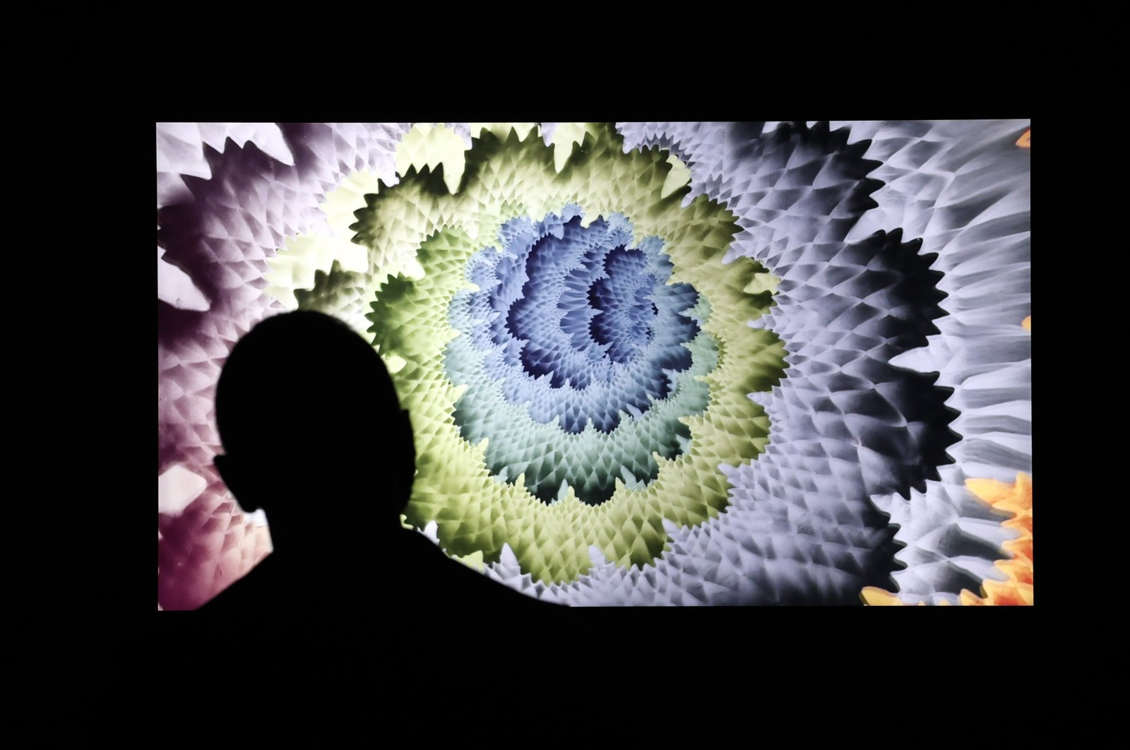 A man looks at a digital NFT artwork during a press preview at the grand opening of Superchief Gallery NFT in New York, U.S., March 25, 2021. (EPA Photo)