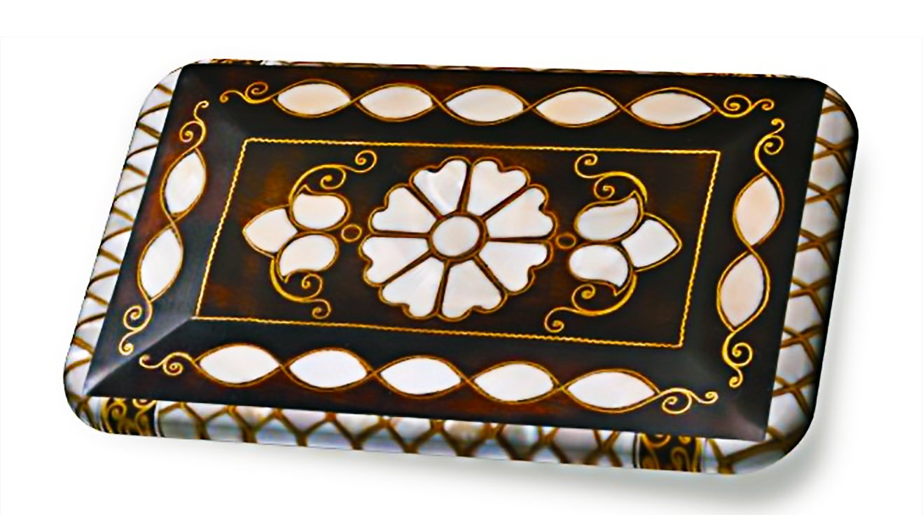 Mother of pearl inlay is a decorative art applied to wooden surfaces. (Courtesy of Ministry of Culture and Tourism)