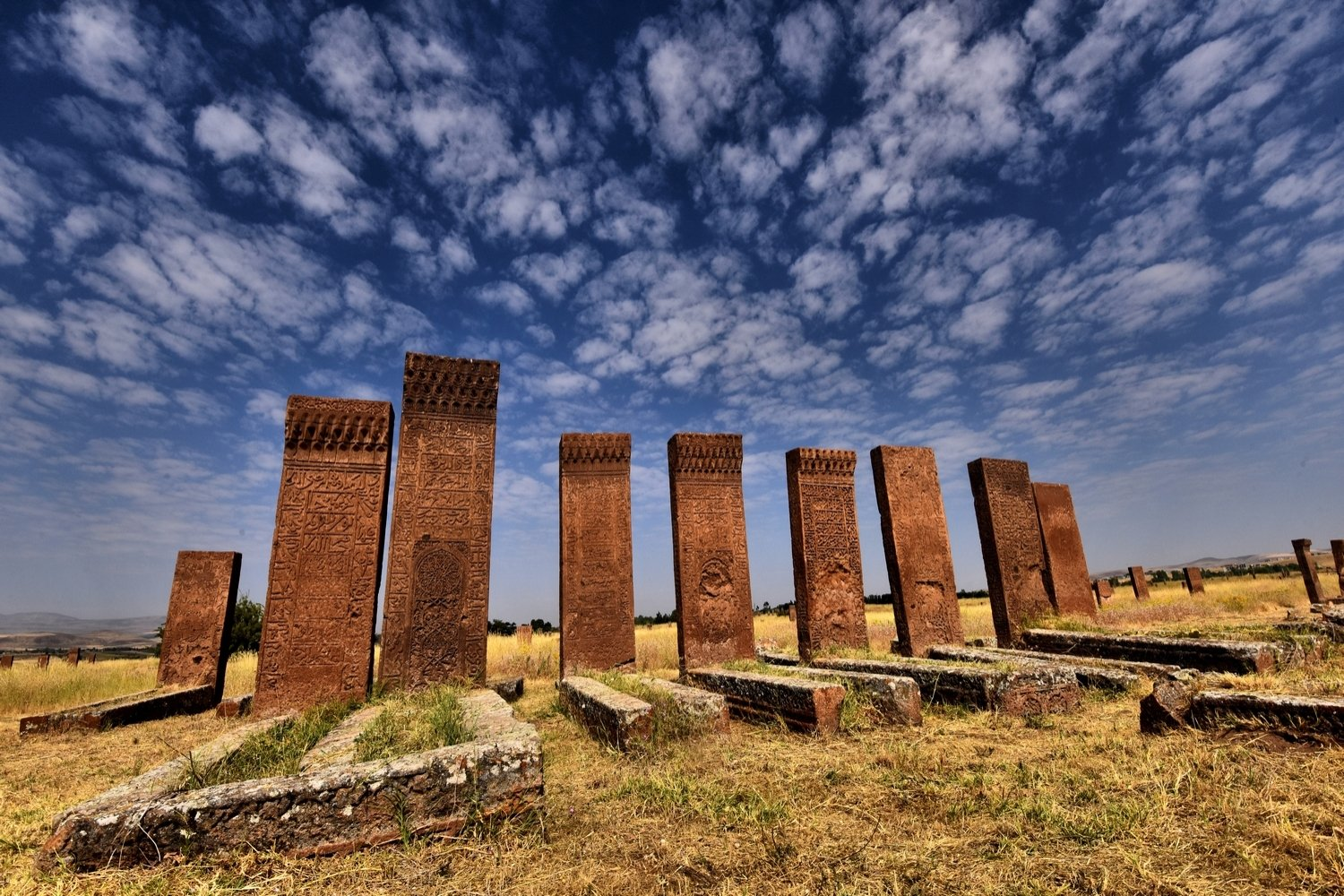Some tombstones at the Ahlat Seljuk Meydan Cemetery, Bitlis, eastern Turkey. (Courtesy of Ministry of Culture and Tourism)