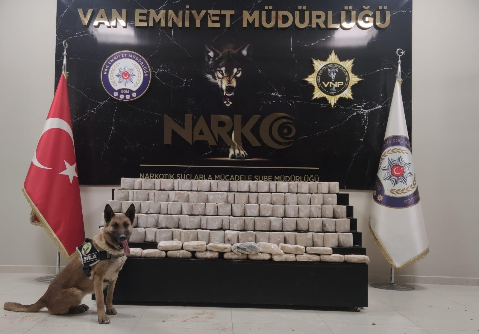 A police dog poses with drugs it helped seize, in Van, eastern Turkey, April 9, 2021. (AA PHOTO)