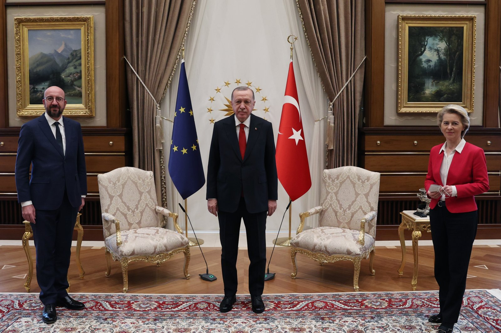 President Recep Tayyip Erdoğan (C) poses with Charles Michel (L), head of the European Council and Ursula von der Leyen, head of the European Commission at the Presidential Complex in Ankara, Turkey, April 7, 2021. (IHA Photo)