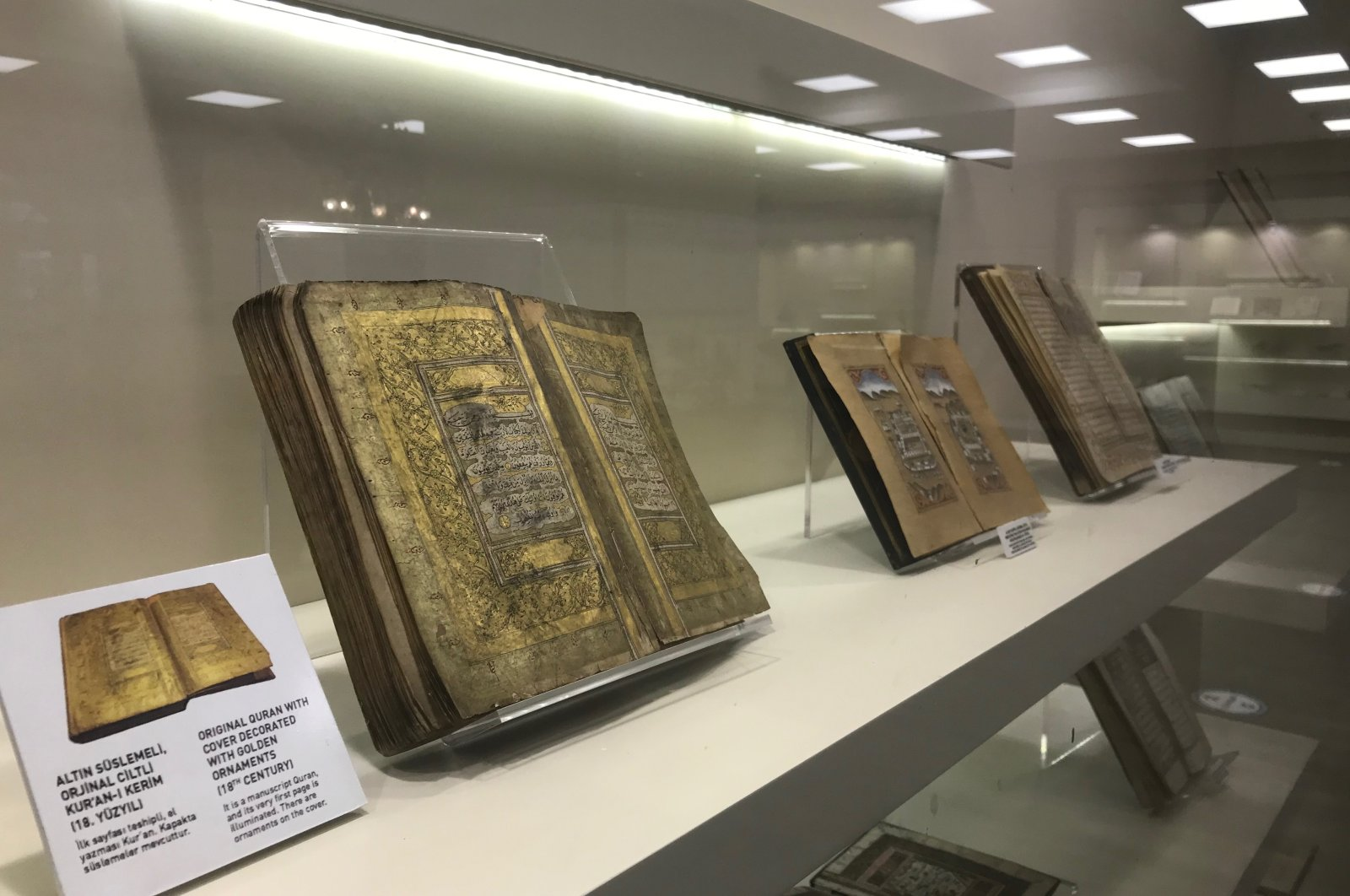 A rare, authentic Quran from the 18th century is exhibited in the Silk Road Museum, Trabzon, Turkey, April 8, 2021. (AA Photo)