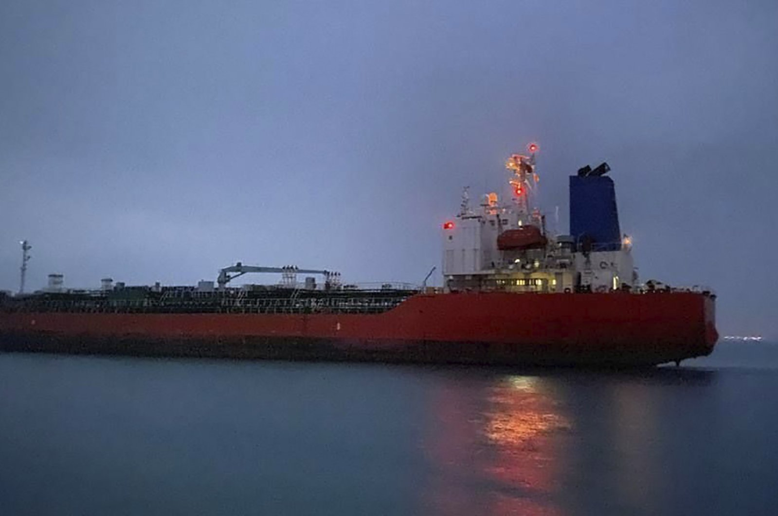 In this photo provided by South Korea's Foreign Ministry, the MT Hankuk Chemi leaves the port in Bandar Abbas, Iran, April 9, 2021. (AP Photo)