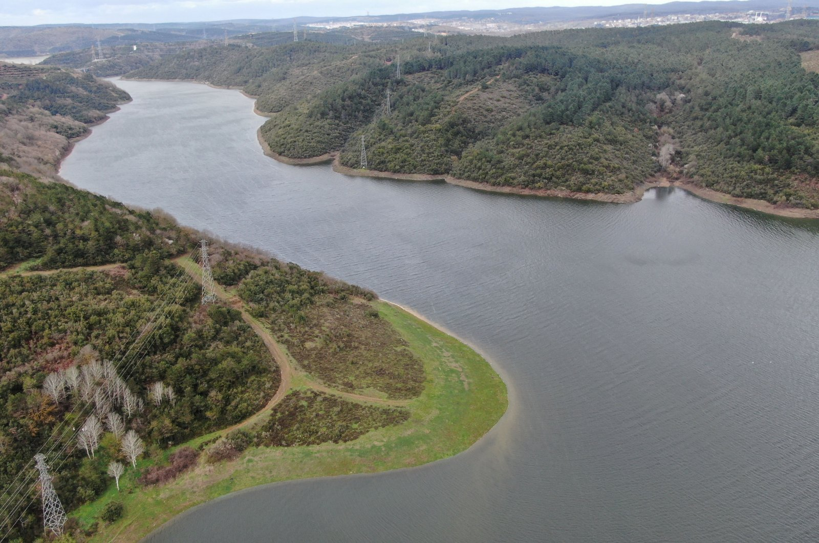 An aerial view of Alibeyköy Dam in Istanbul, Turkey, April 9, 2021. (DHA Photo)