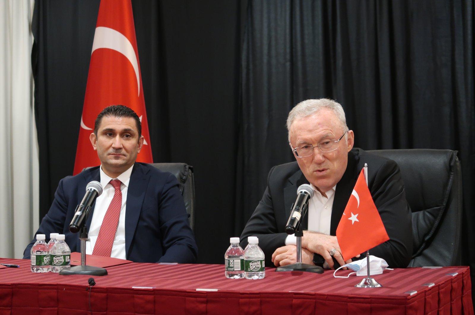 Turkey's new ambassador to Washington (R) addresses representatives of Turkish nongovernmental organizations (NGOs) and members of the Turkish community in New York, U.S., April 9, 2021. (AA)