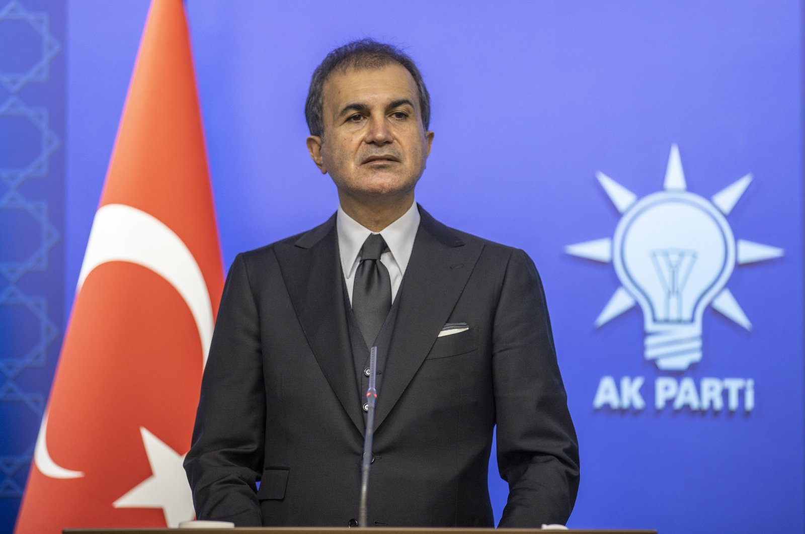Justice and Development Party (AK Party) spokesperson Ömer Çelik holds a press conference, in Ankara, Turkey, March 24, 2021. (AA Photo)