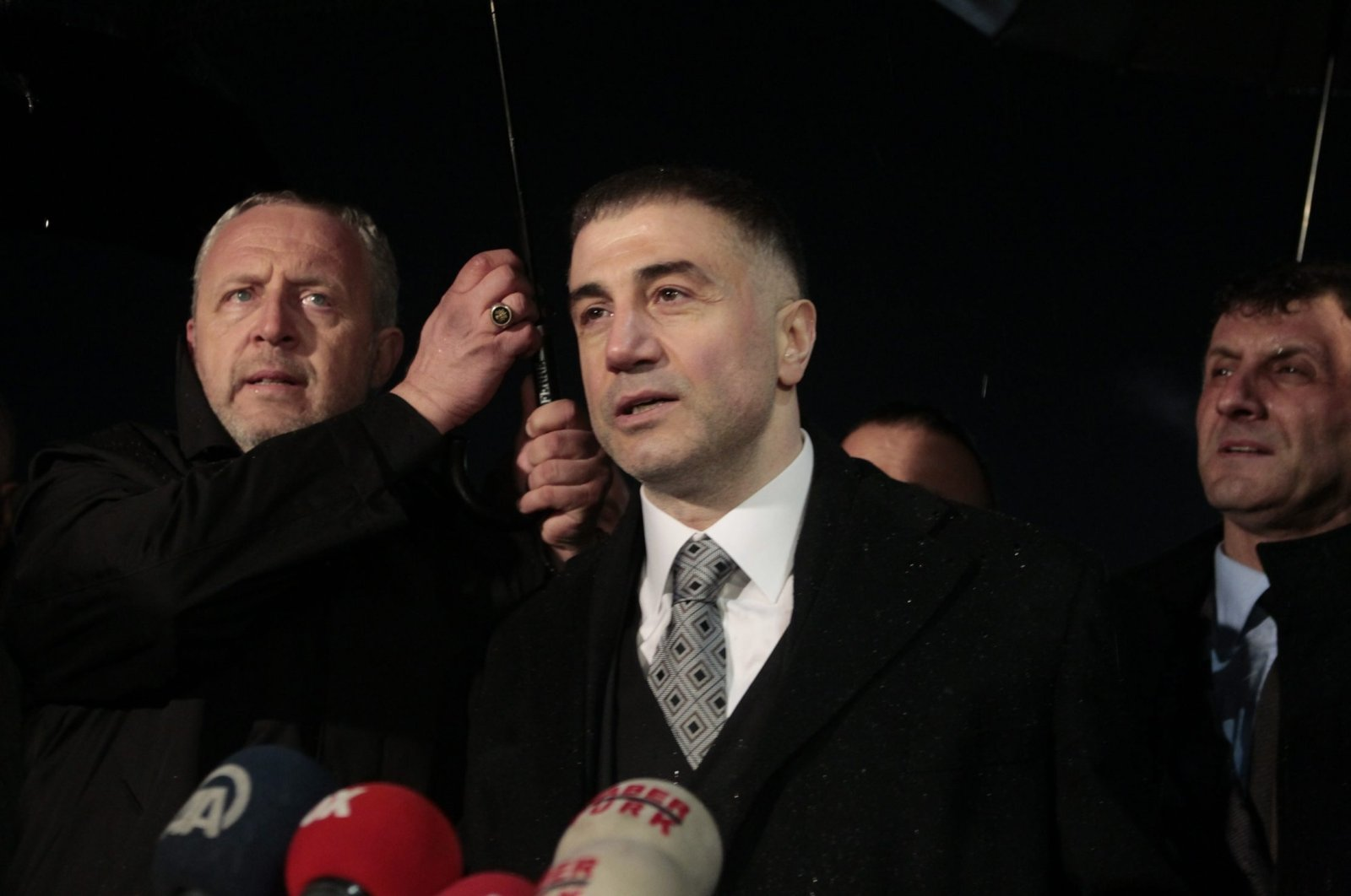 Sedat Peker talks to reporters as he leaves prison, in Istanbul, Turkey, March 10, 2014. (PHOTO BY METIN ARABACI)