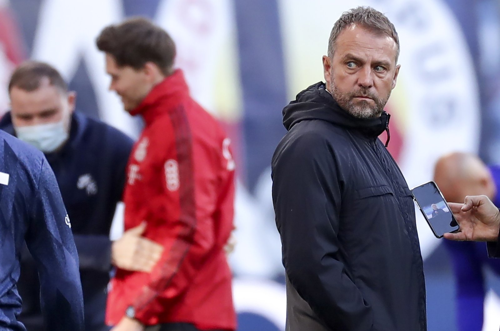 Bayern Munich coach Hansi Flick reacts during a Bundesliga match against RB Leipzig at Red Bull Arena in Leipzig, Germany, April 3, 2021. (EPA Photo)