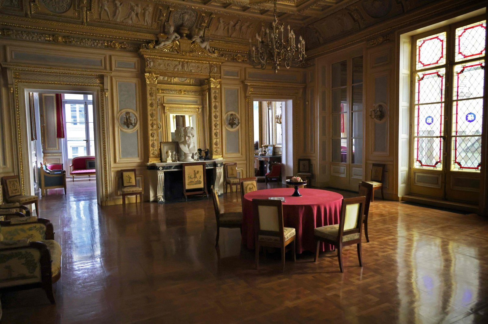 This picture shows the interior of the Palais Vivienne apartment owned by French collector Pierre-Jean Chalencon, Paris, France, April 5, 2021. (AFP Photo)