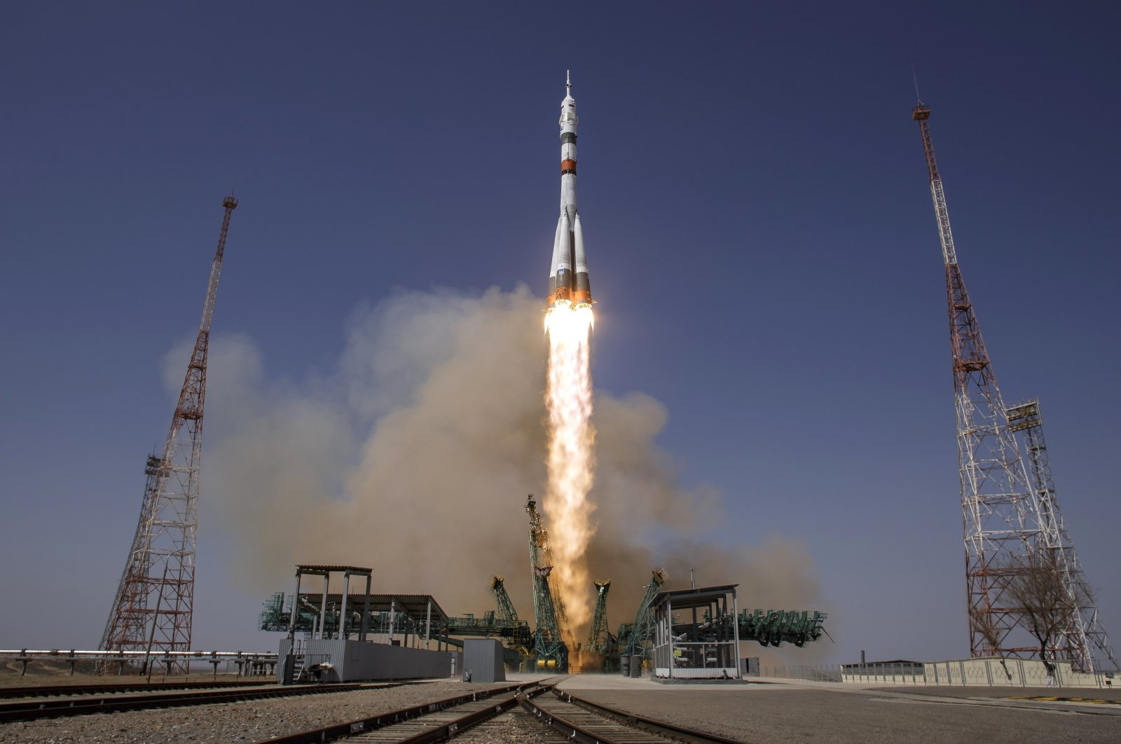 The Soyuz MS-18 rocket is launched with NASA astronaut Mark Vande Hei and Roscosmos cosmonauts Pyotr Dubrov and Oleg Novitskiy, at the Baikonur Cosmodrome in Kazakhstan, Friday, April 9, 2021. (NASA via AP)