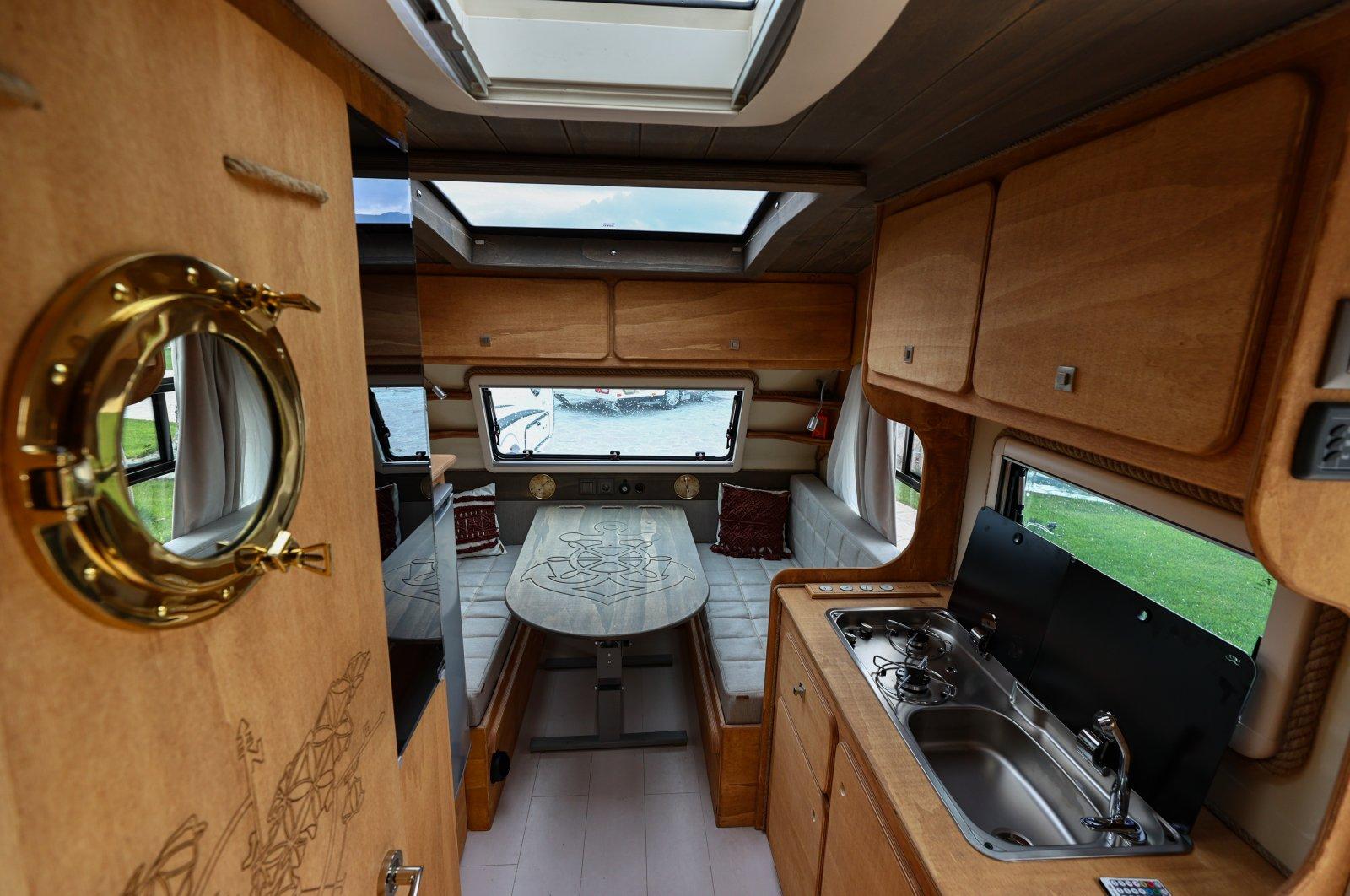 The inside of a caravan produced by Izmir-based manufacturer Ortiz Karavan, western Turkey, April 9, 2021. (AA Photo)