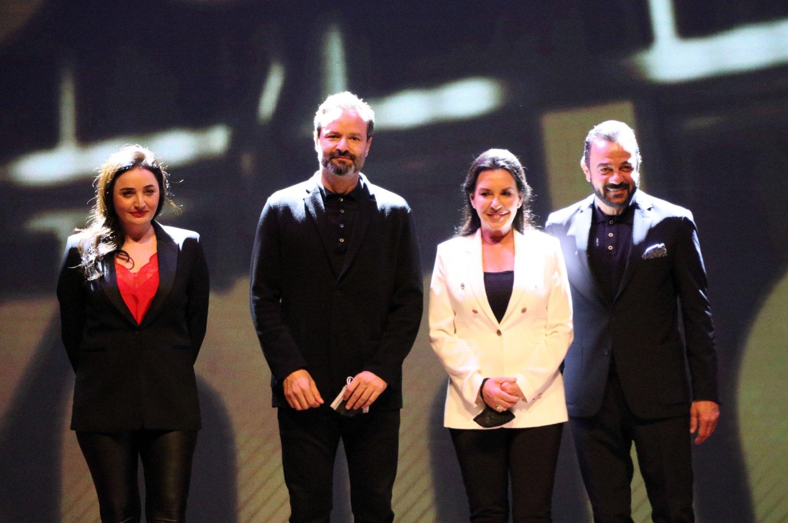 Jury membersFadik Sevin Atasoy (2nd L),Timür Savcı (L),Perihan Savaş (R),Kerem Alışık (2nd R), pose for a photo at the 6thGolden Baklava Film Academy International Student Film Festival, Gaziantep, Turkey, April 9, 2021. (AA Photo)