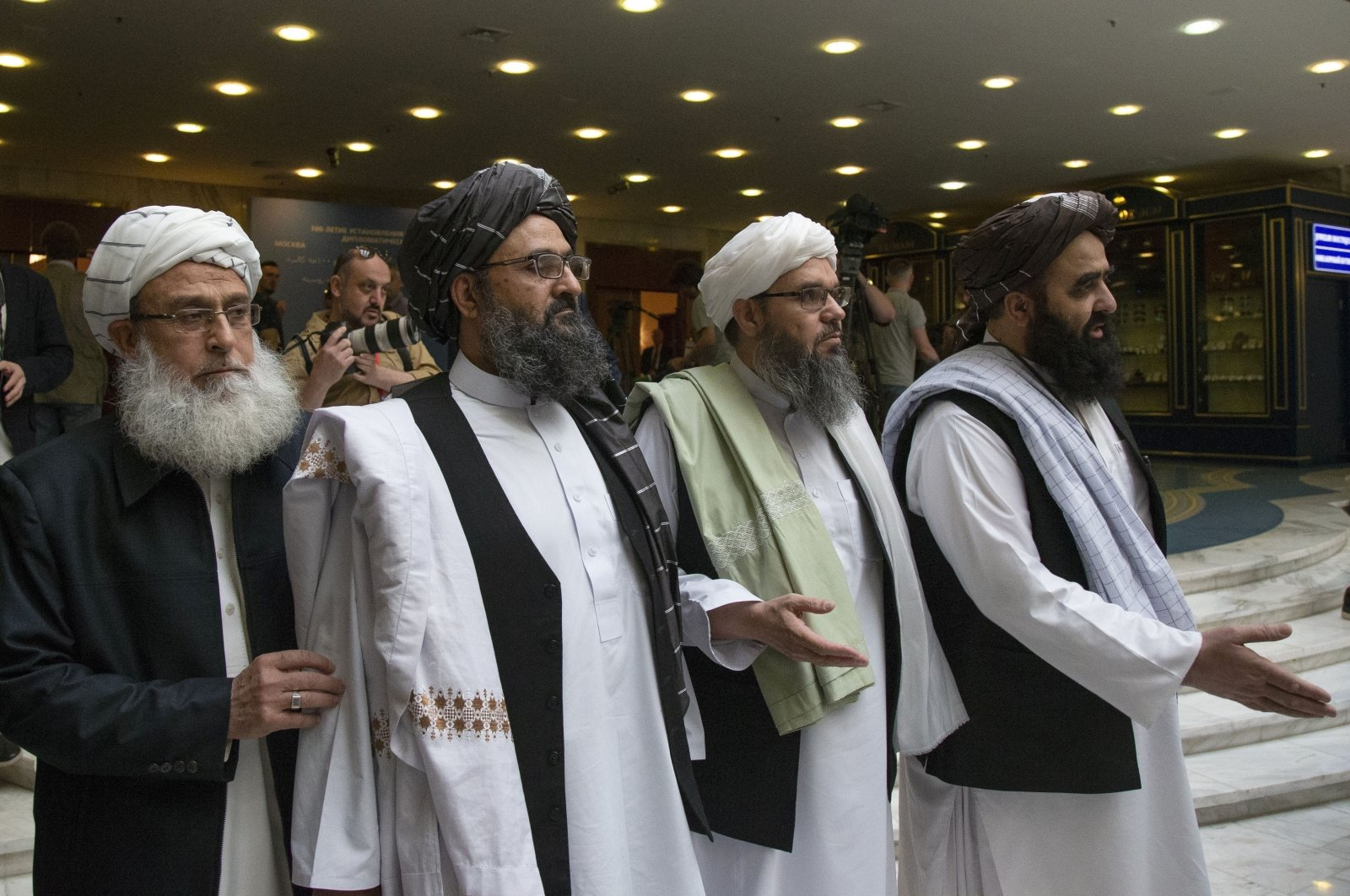 Taliban co-founder Mullah Abdul Ghani Baradar, second left, arrives with other members of the Taliban delegation for talks in Moscow, Russia, May 28, 2019. (AP Photo)