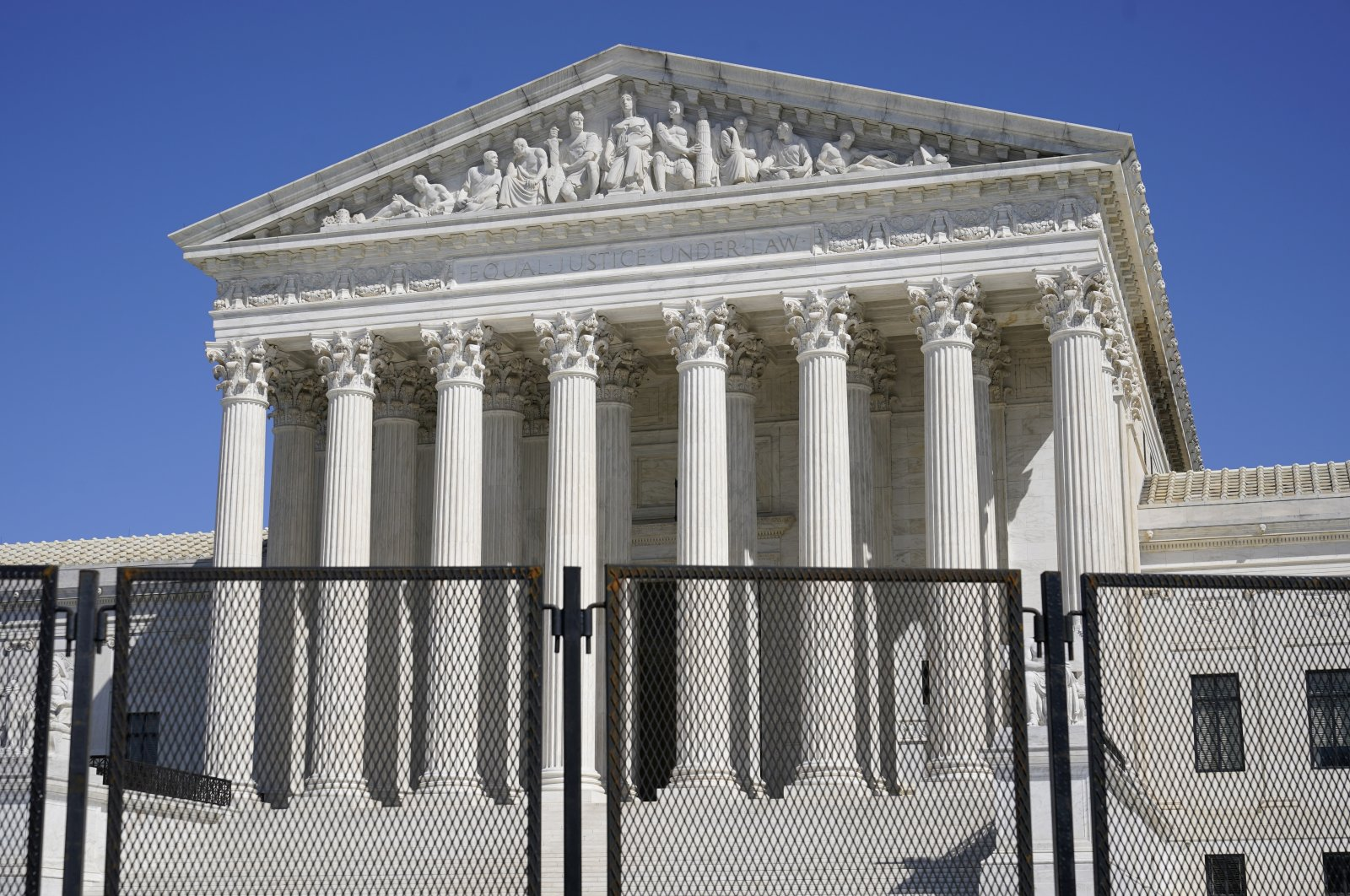 Security fencing surrounds the Supreme Court building on Capitol Hill in Washington, U.S., March 21, 2021. (AP Photo)