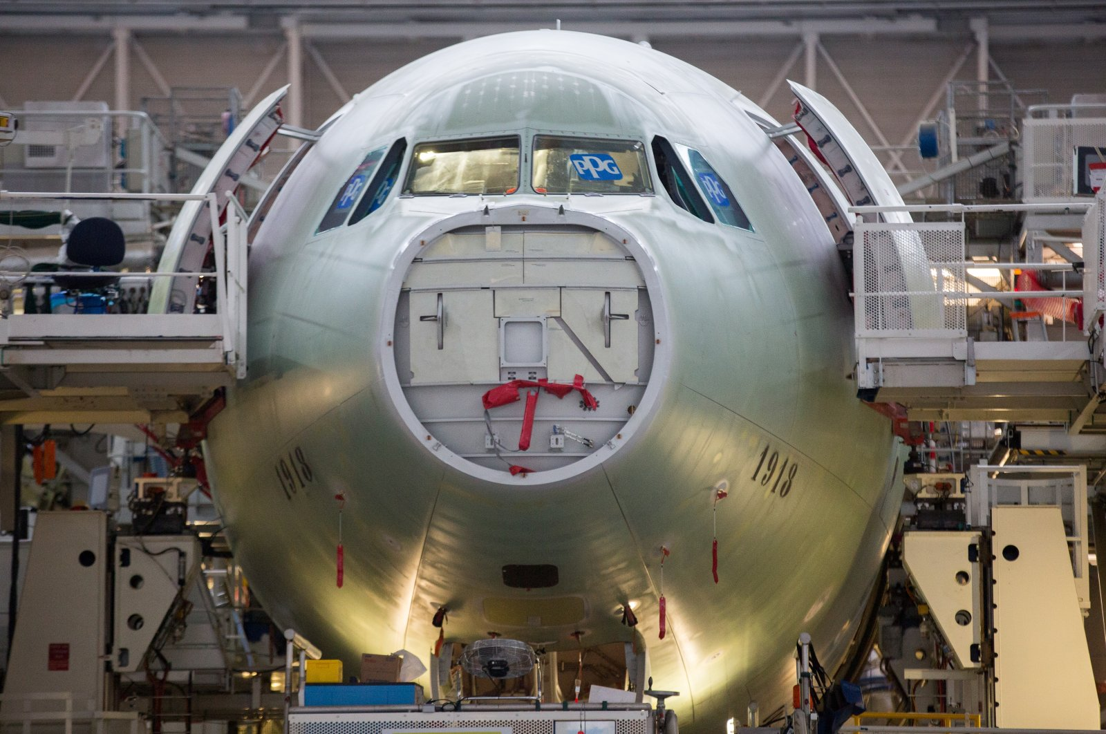 An A330 Airbus aircraft assembly line in Colomiers, France, Nov. 26, 2018. (Reuters Photo)