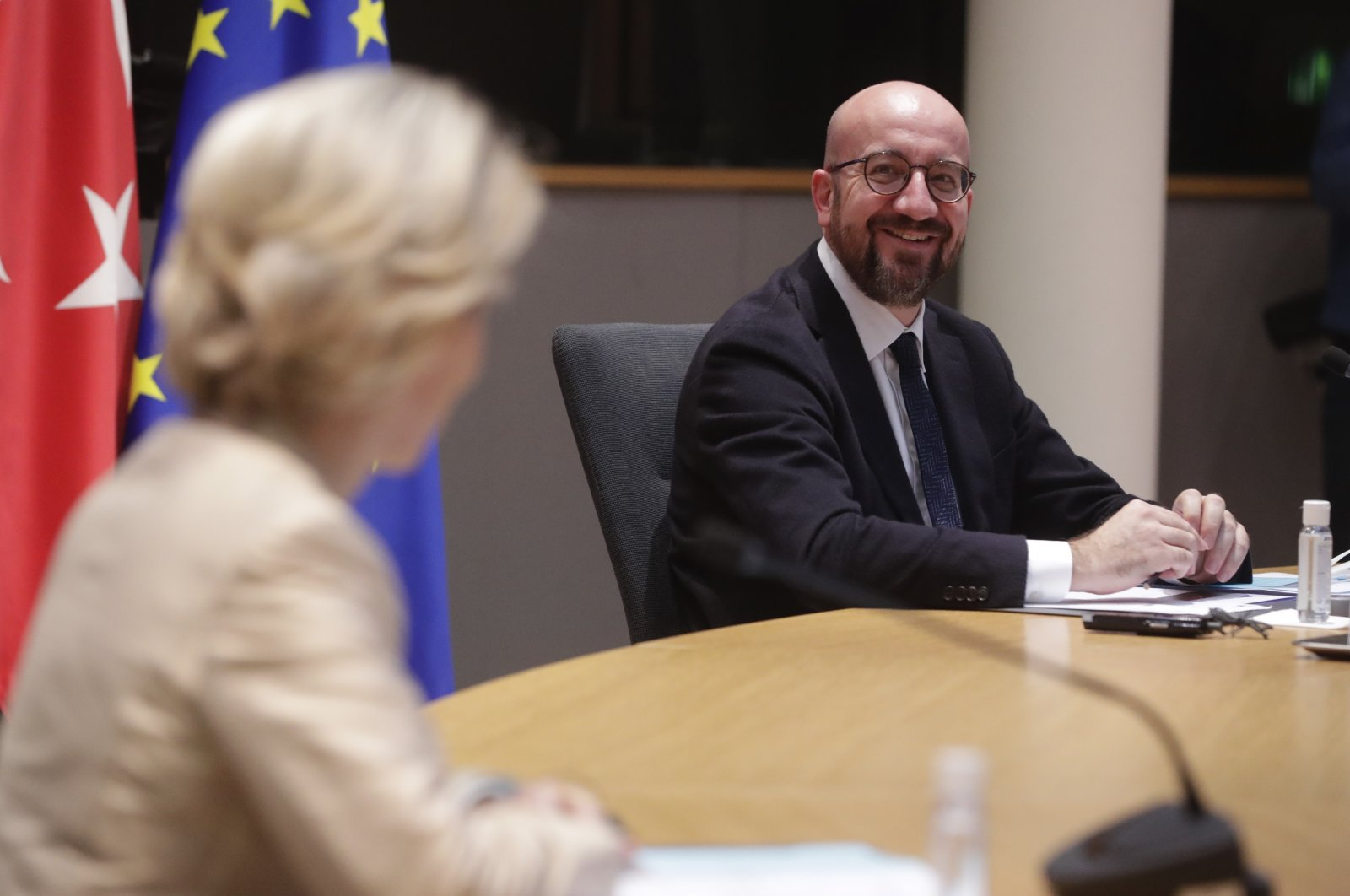 European Commission President Ursula von der Leyen (L) and European Council President Charles Michel participate in a videoconference meeting with President Recep Tayyip Erdoğan at the European Council building in Brussels, March 19, 2021. (Pool via AP)