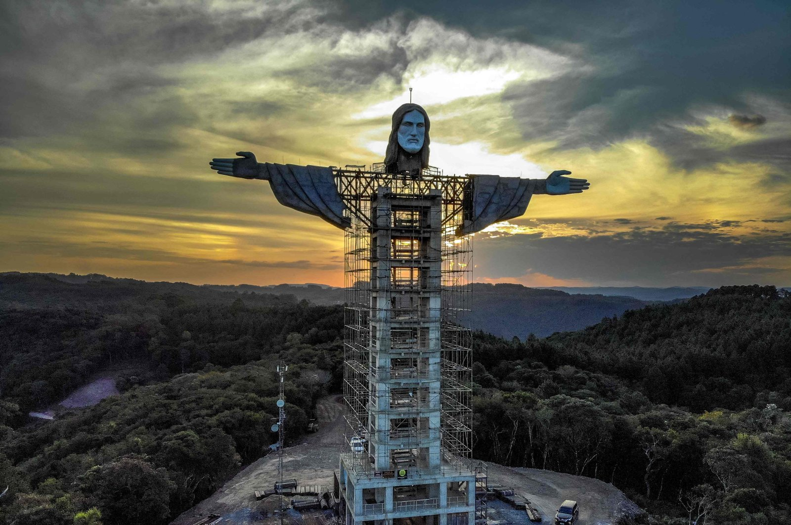 View of the Christ statue being built in Encantado, Rio Grande do Sul state, Brazil, April 9, 2021. (AFP Photo)