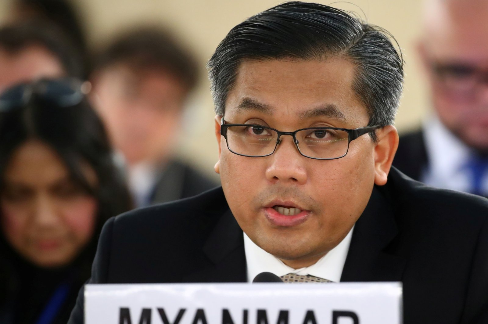 Myanmar's ambassador Kyaw Moe Tun addresses the Human Rights Council at the United Nations in Geneva, Switzerland, March 11, 2019. (Reuters)