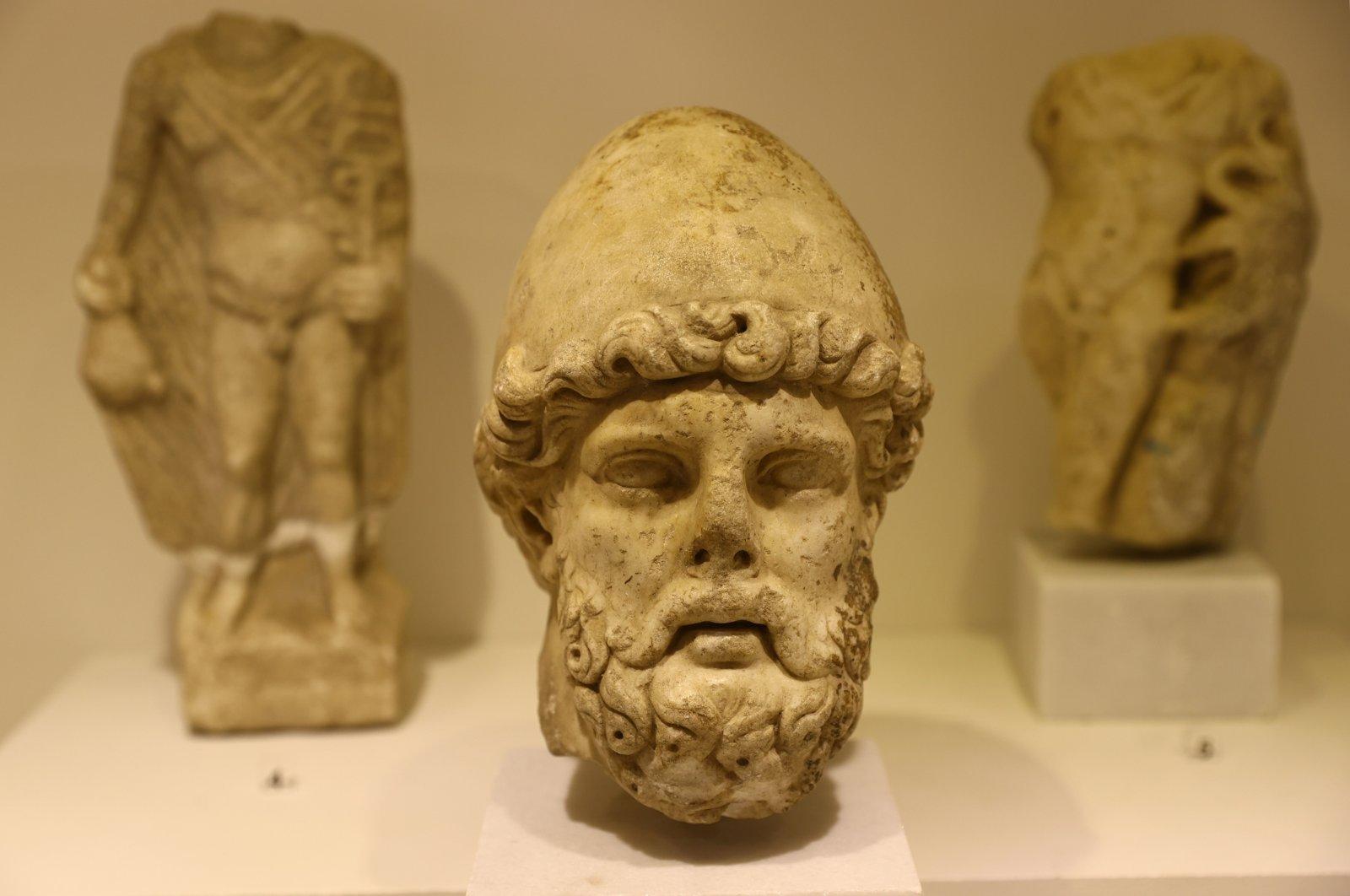 Sculptures belonging to ancient era civilizations of Thrace, Edirne, Turkey, April 9, 2021. (AA Photo)