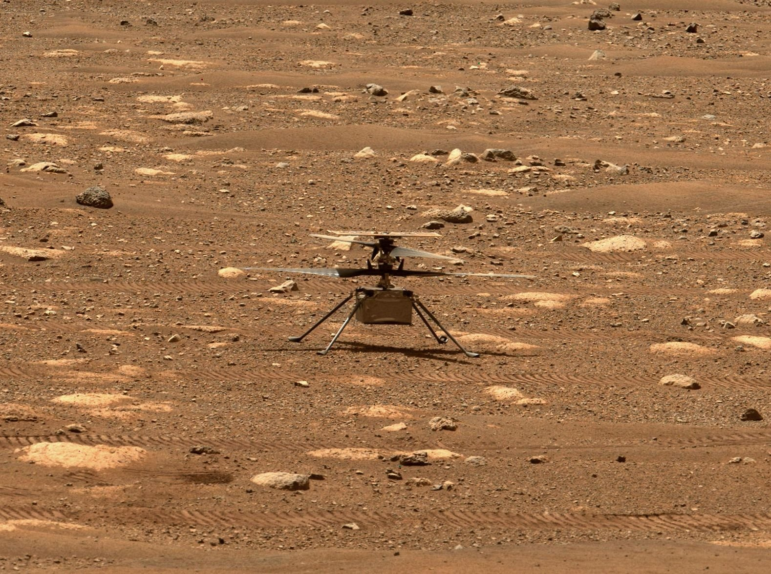 This NASA photo shows NASA's Ingenuity helicopter unlocking its rotor blades, allowing them to spin freely, on April 7, 2021, the 47th Martian day, or sol, of the mission, captured by the Mastcam-Z imager on NASA's Perseverance Mars rover on the following sol, April 8, 2021. (NASA/JPL-Caltech/MSSS via AFP)