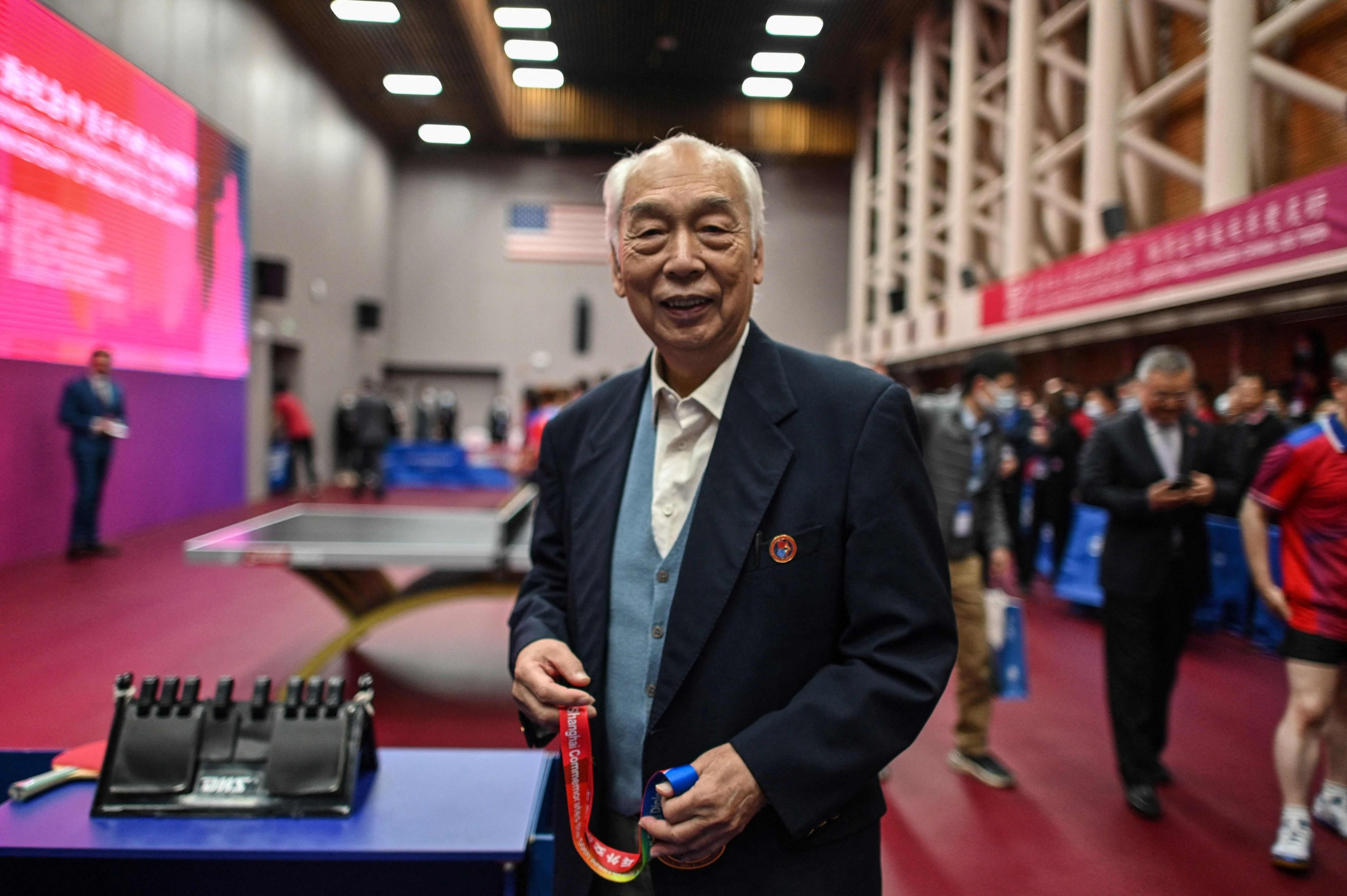 China's former table tennis player and Ping Pong Diplomacy participant Zhang Xielin during a ceremony to mark the 50th anniversary of the diplomatic event, at the International Table Tennis Federation museum in Shanghai, China, April 10, 2021. (AFP Photo)