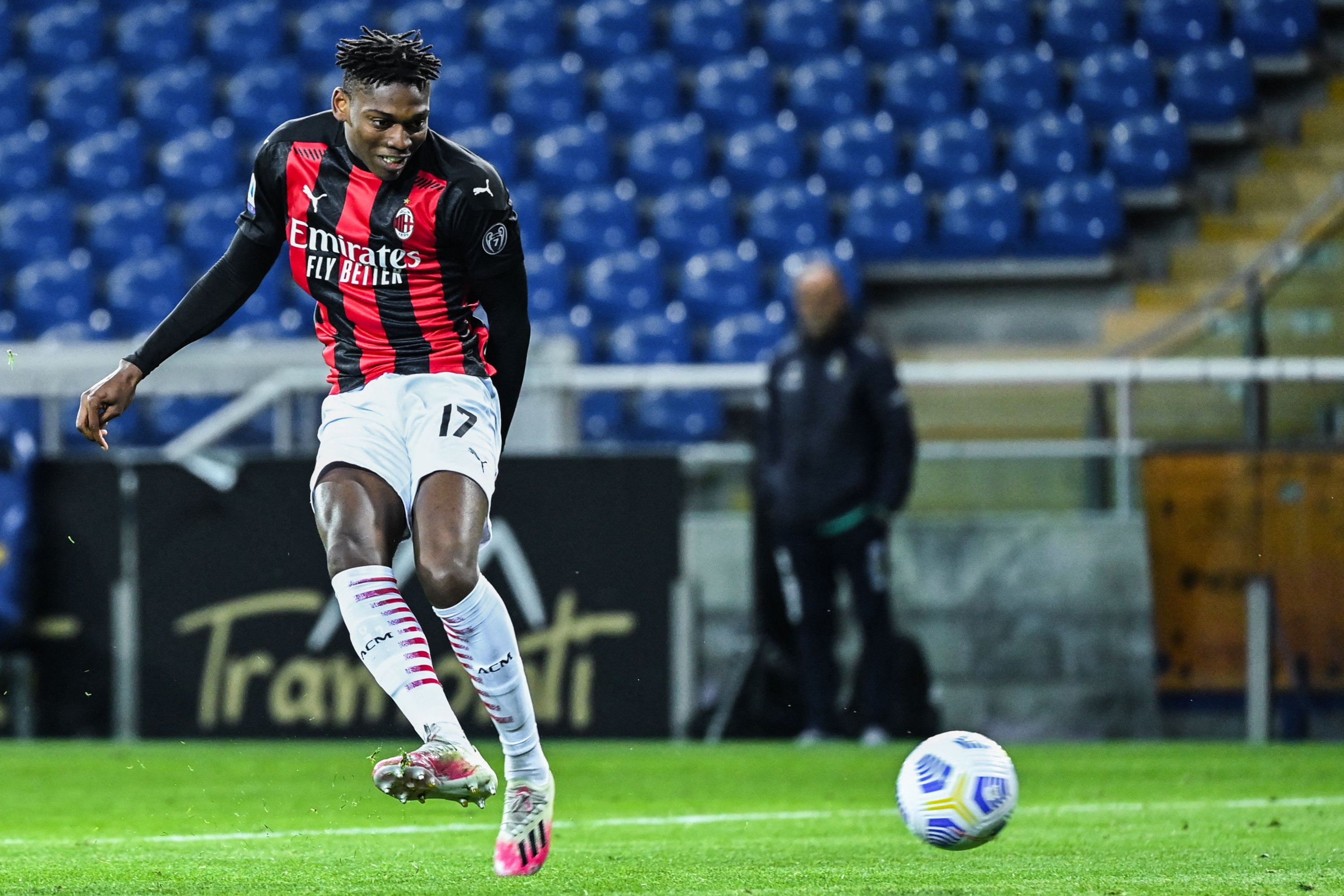 AC Milan's Portuguese forward Rafael Leao shoots to score the third goal during a Serie A match against Parma at the Ennio-Tardini stadium, Parma, Italy, April 10, 2021. (AFP Photo)