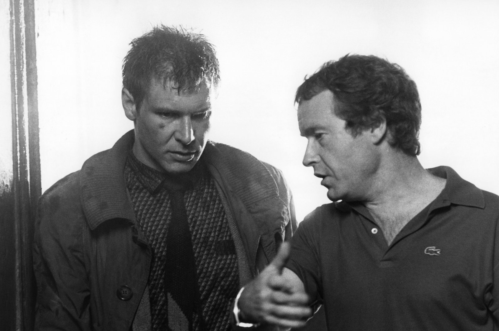 "Harrison Ford (L) and Ridley Scott on the set of ""Blade Runner"", directed by Ridley Scott. (Corbis via Getty Images)"