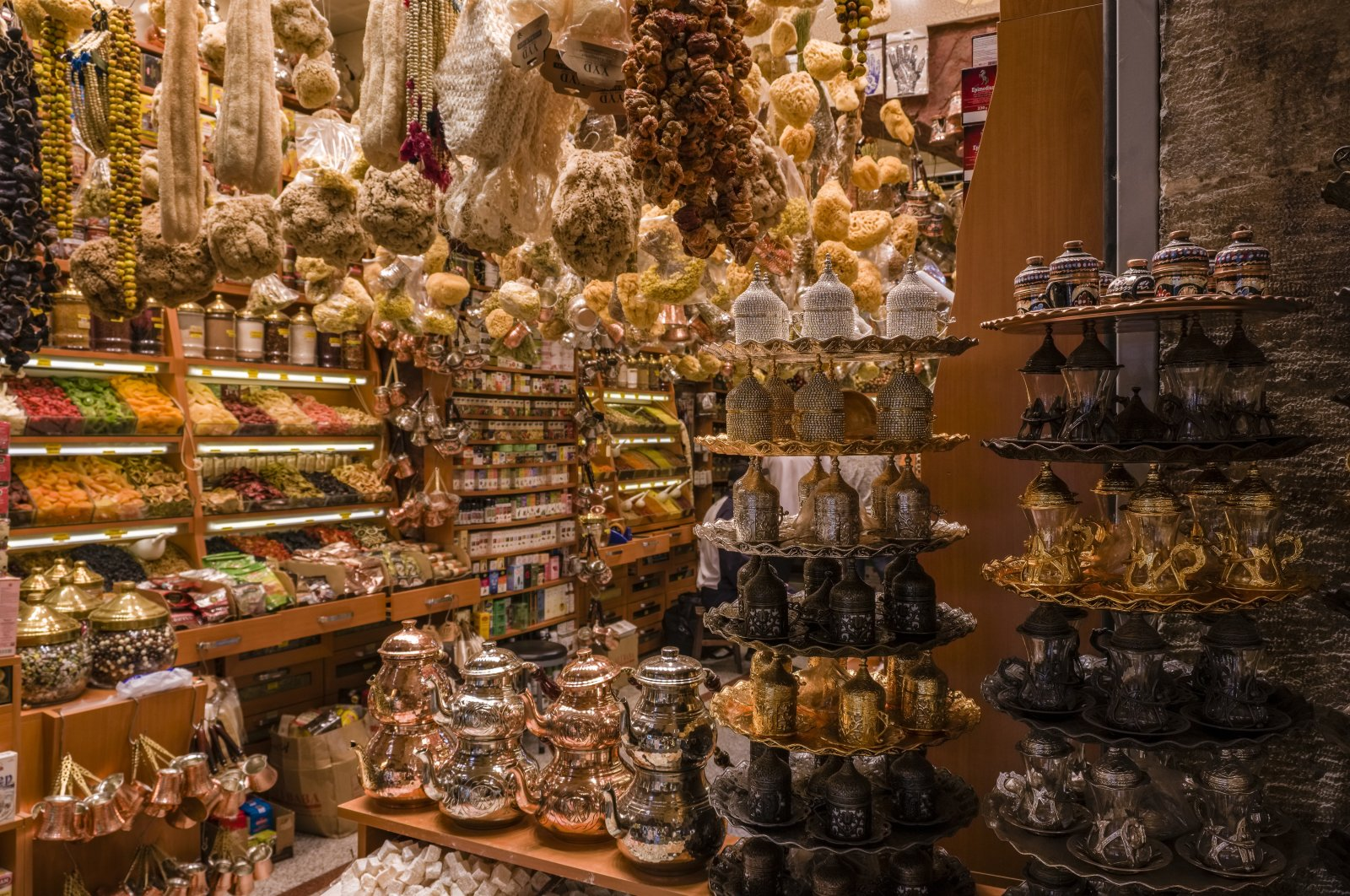 Big variety of spices, tea dishes and kitchen accessories are seen at a shop inside Spice Bazaar, Istanbul, Turkey, Oct. 15, 2019. (Photo by Getty Images)