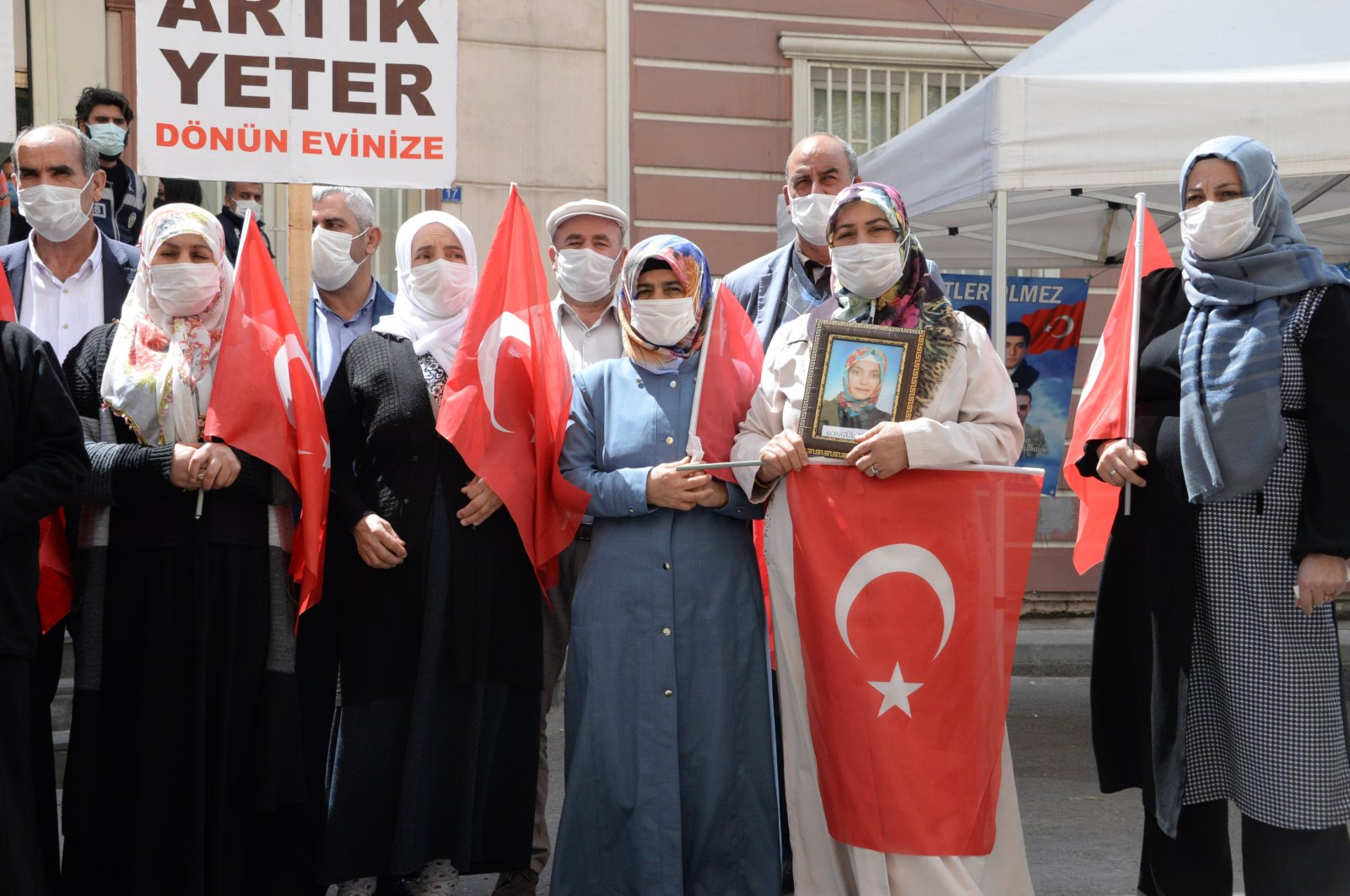 Families of children abducted or forcibly recruited by the PKK terrorist group staging a protest in Diyarbakır, Turkey, April 11, 2021. (DHA)