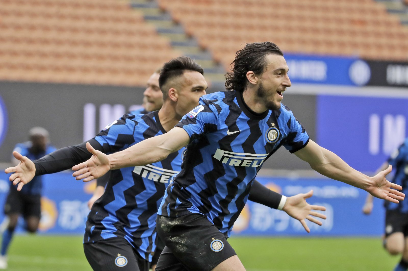 Inter Milan's Matteo Darmian celebrates after scoring during a Serie A match against Cagliari at the San Siro stadium Milan, Italy, Sunday, April 11, 2021. (AP Photo)
