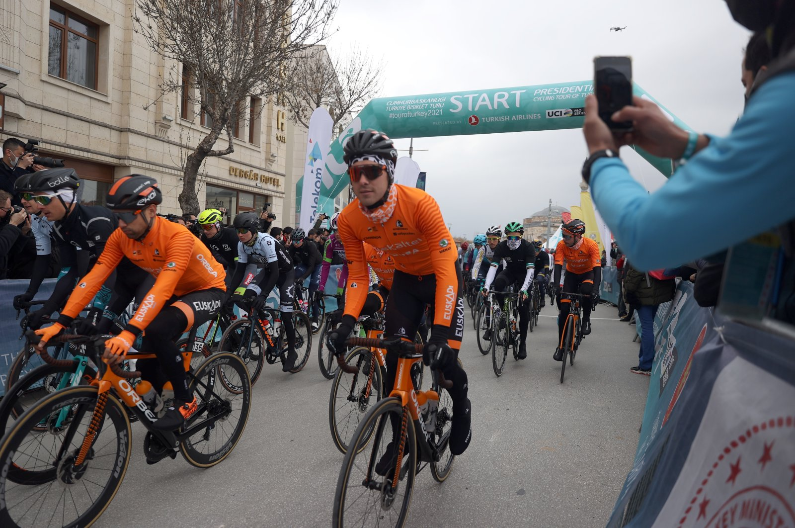 Riders at the start line of the 56th Presidential Cycling Tour of Turkey at Mevlana Square, Konya, central Turkey, April 11, 2021.