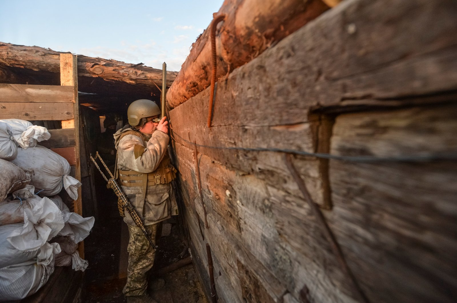 A service member of the Ukrainian armed forces is seen at fighting positions on the line of separation from pro-Russian rebels near Donetsk, Ukraine, April 10, 2021. (Reuters Photo)