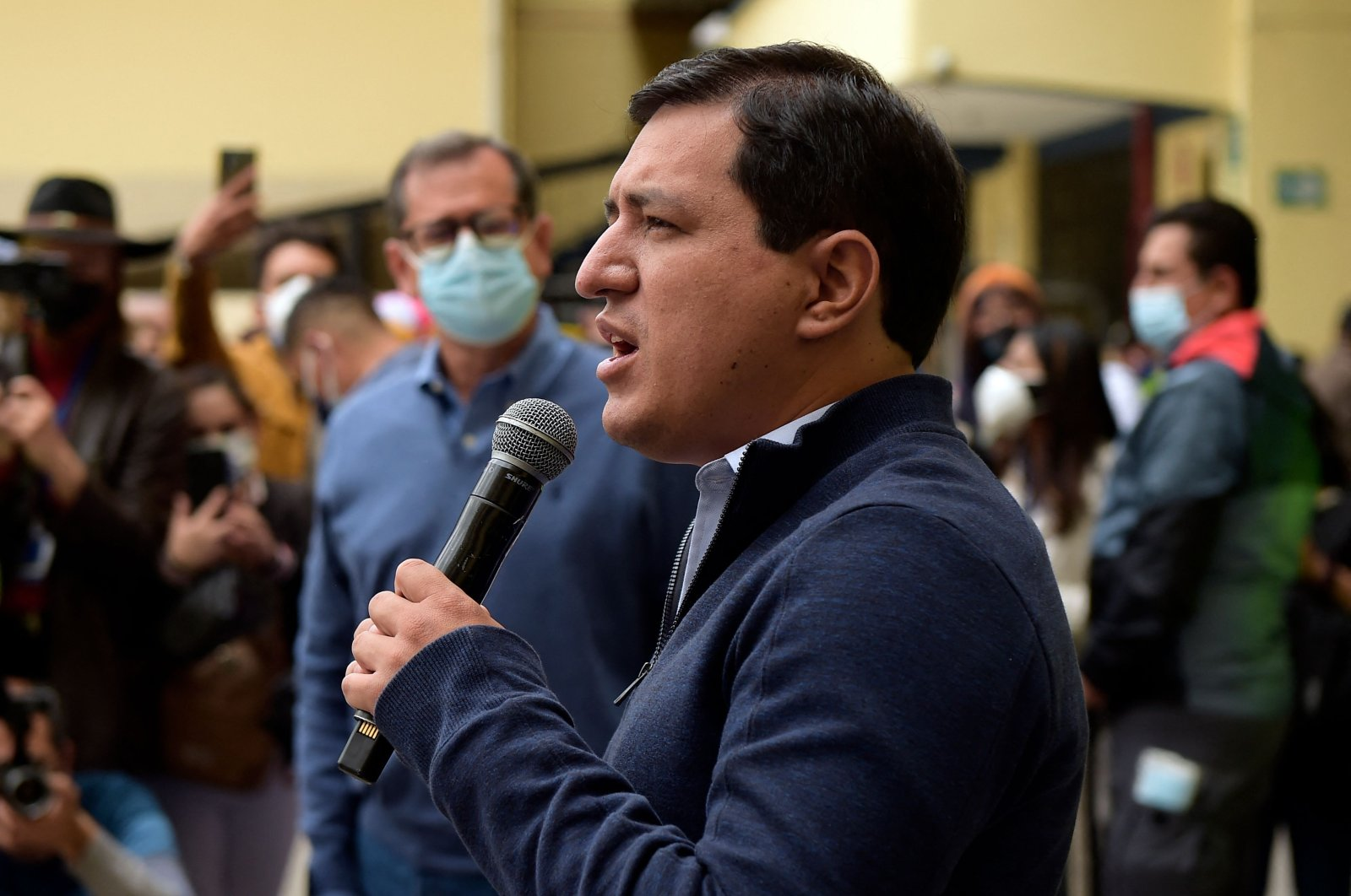 Ecuadorian presidential candidate Andres Arauz speaks at a polling station during the presidential runoff election in the capital Quito, Ecuador, April 11, 2021. (AFP Photo)