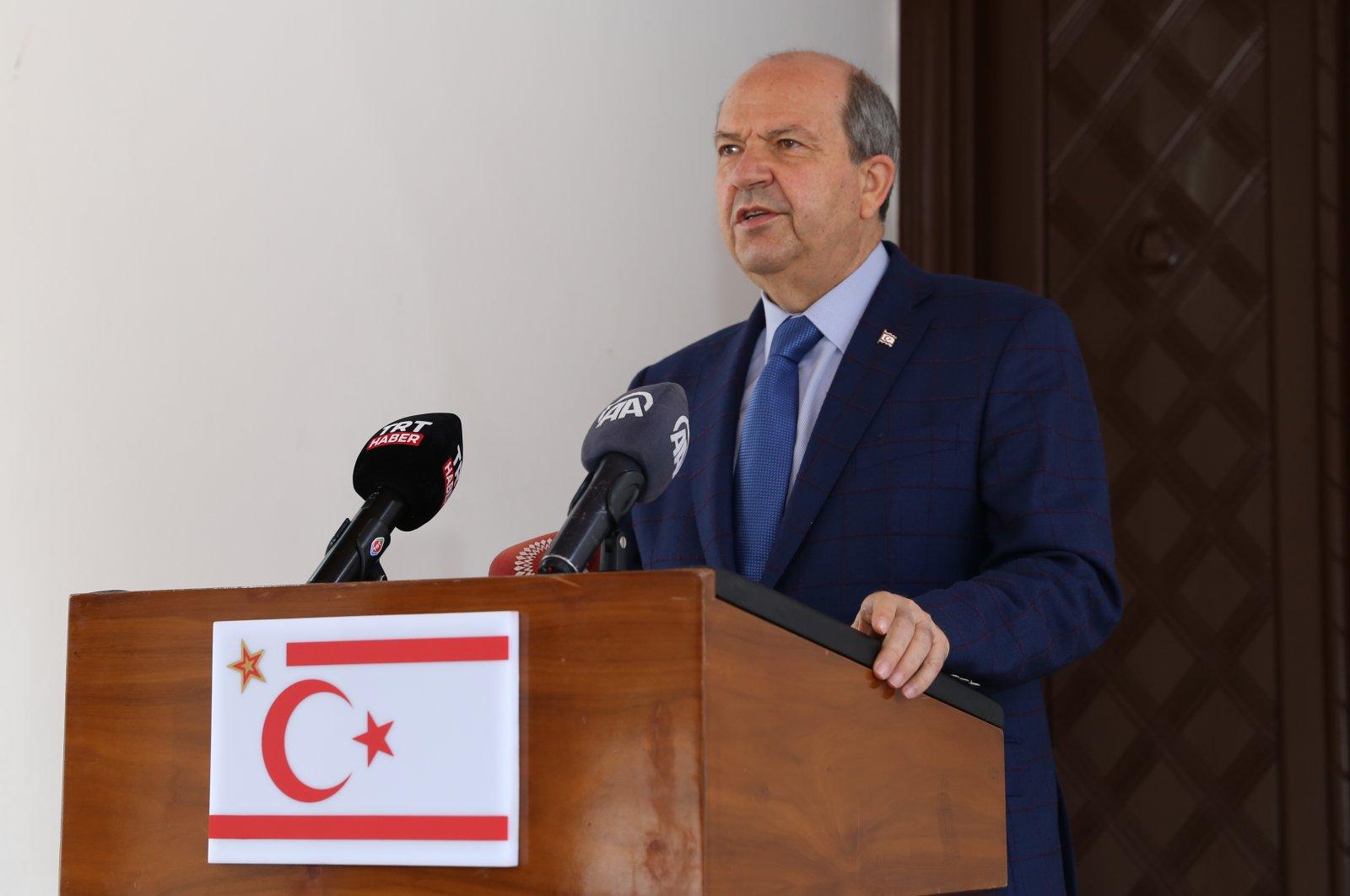 Turkish Republic of Northern Cyprus (TRNC) President Ersin Tatar speaks to reporters in Lefkoşa (Nicosia), TRNC, April 11, 2021. (AA Photo)