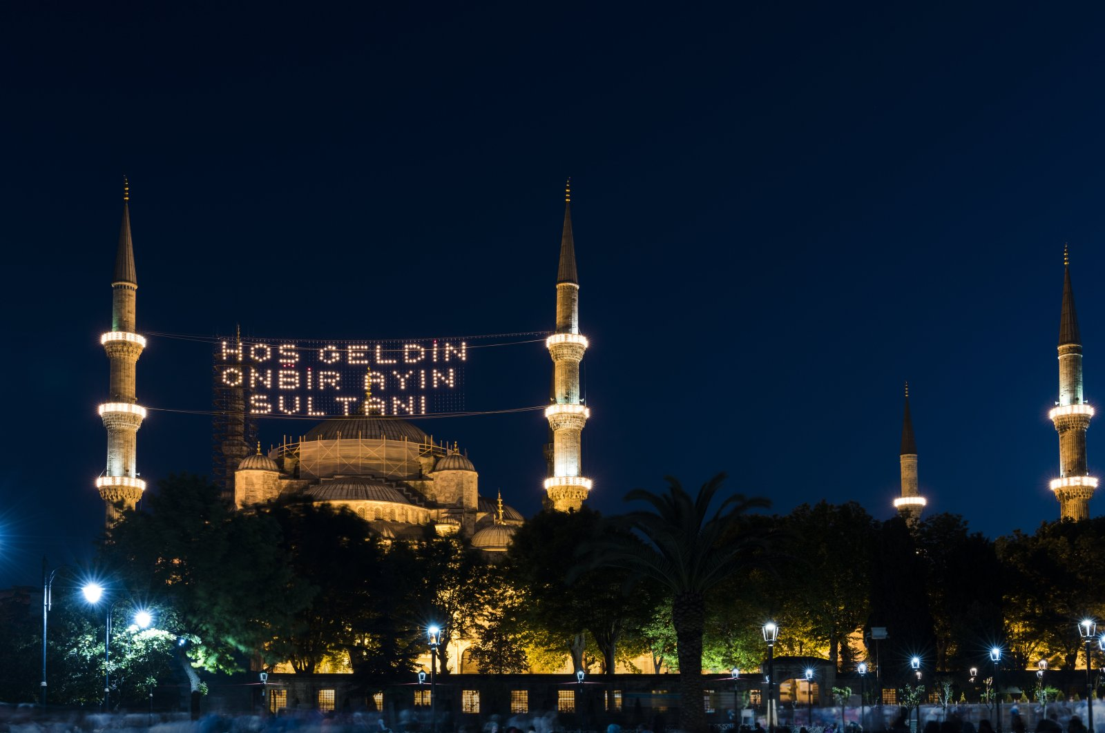 """The Blue Mosque is decorated specially for the holy Islamic month of Ramadan, with a """"mahya,"""" a special adornment with lights, saying """"Welcome! The Sultan of 11 months,"""" Istanbul, Turkey. (Getty Images)"""