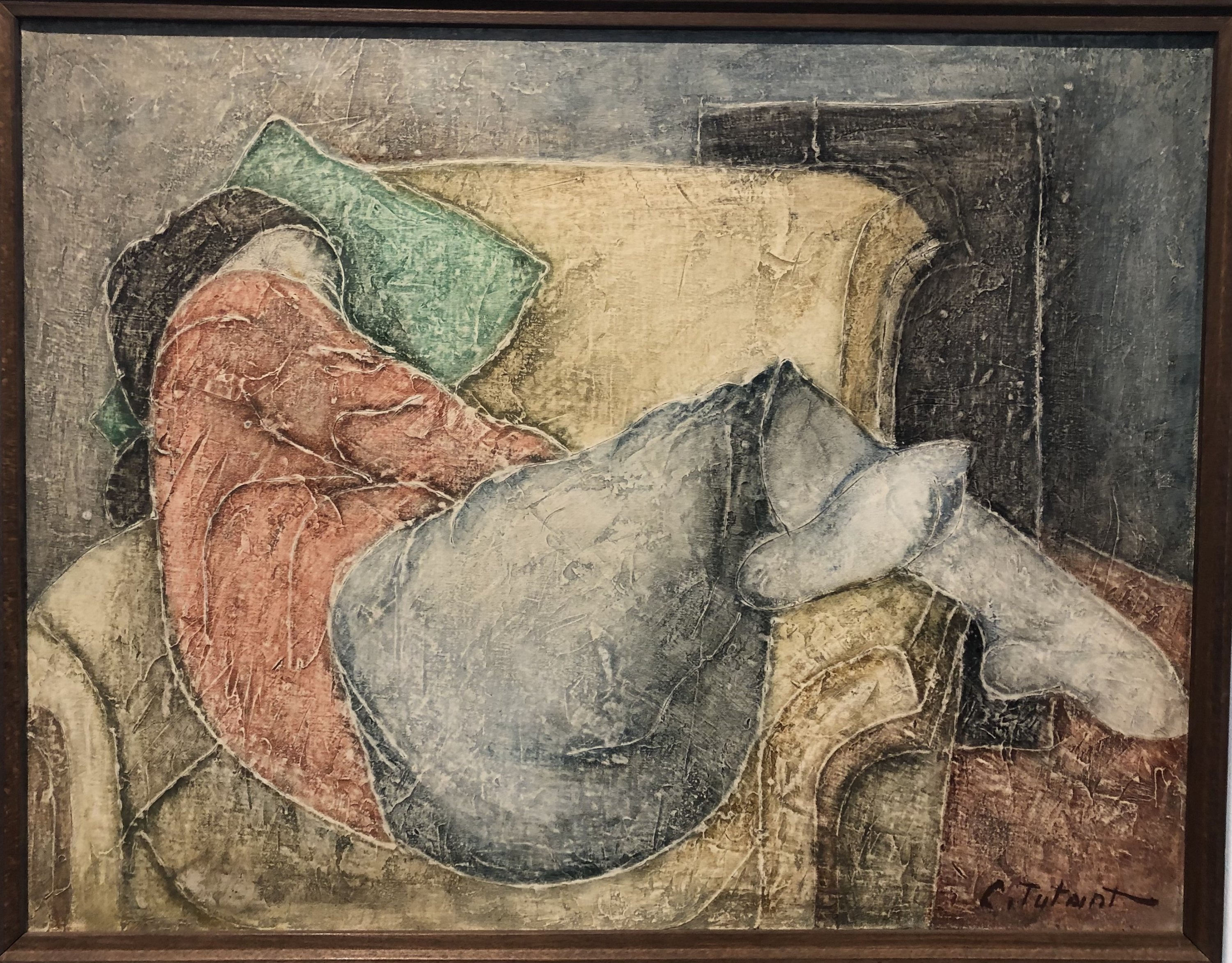 Celal Tutant 'On the Sofa,' 1986, oil on canvas 64 by 50 centimeters.
