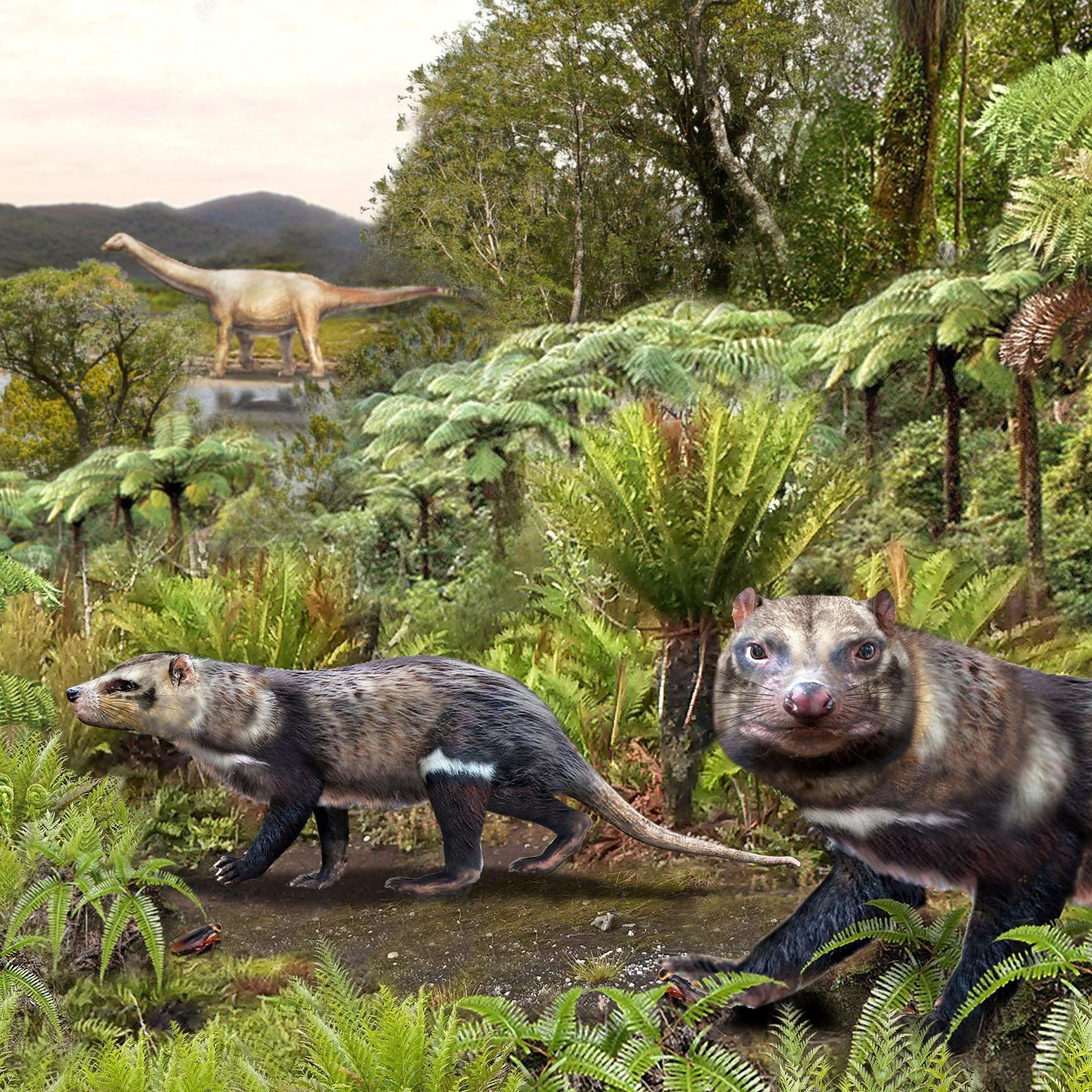 An artist impression of a new species of mammal, baptized Orretherium tzen, which inhabited Patagonia during the Upper Cretaceous period, according to a study published April 7, 2021, in the journal Scientific Reports of the Nature line. (Chilean Antarctic Institute via REUTERS)