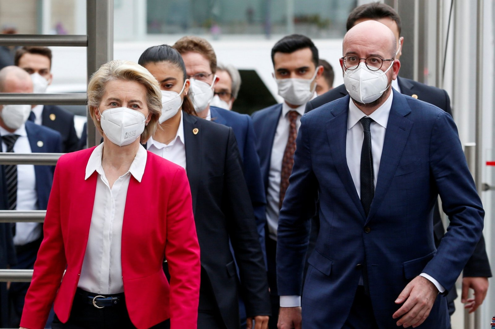 European Commission President Ursula von der Leyen (L) and European Council President Charles Michel (R) arrive at a news conference following their meeting with President Recep Tayyip Erdoğan in Ankara, Turkey, April 6, 2021. (Reuters Photo)