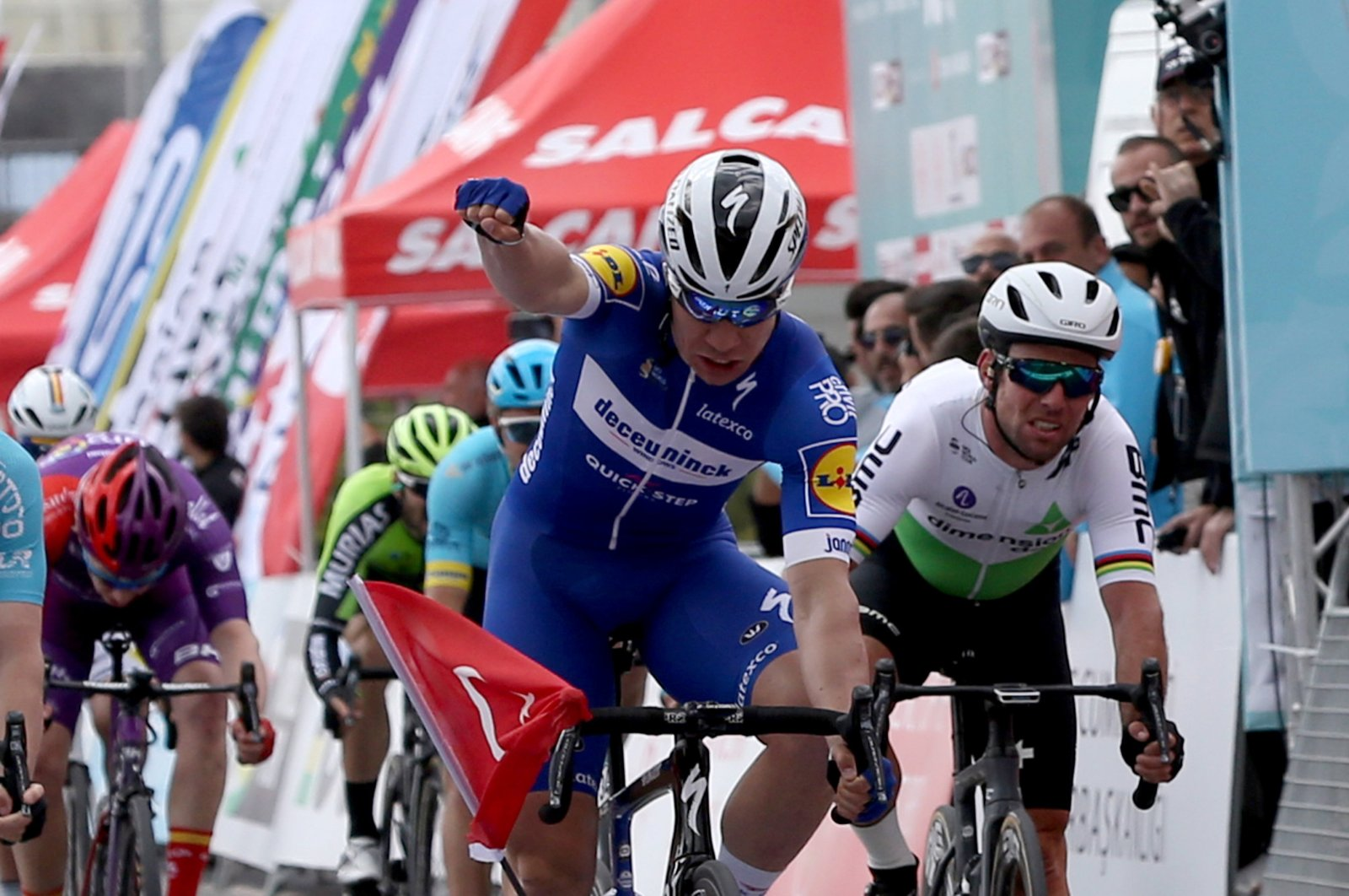 The Netherland's Fabio Jakobsen wins the third stage of the 55th Presidential Cycling Tour of Turkey, Edremit, western Turkey, April 18, 2021.