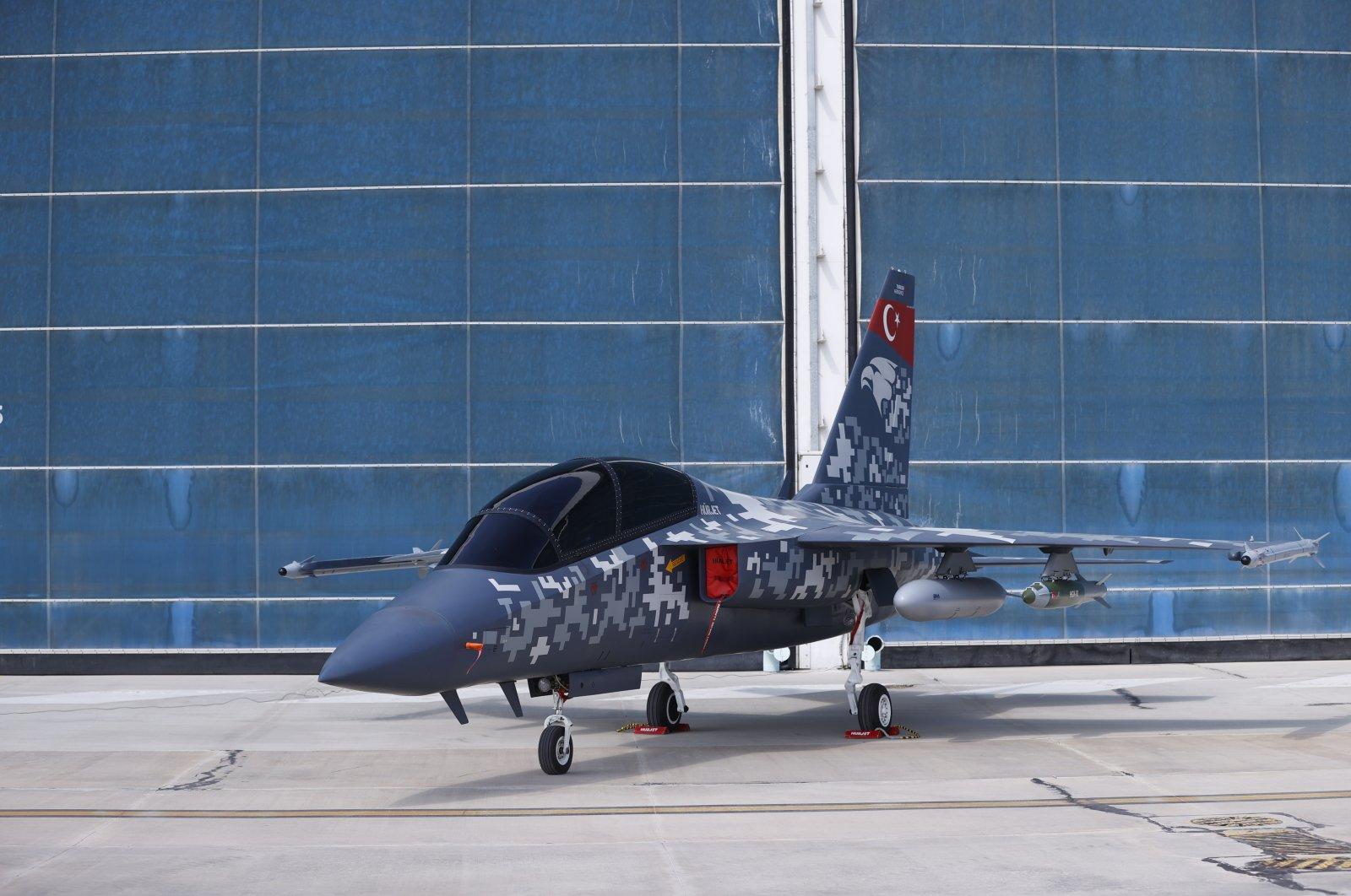 A modal of TAI's advanced jet trainer and light attack aircraft Hürjet at the company's complex, Ankara, Turkey, April 12, 2021. (AA Photo)