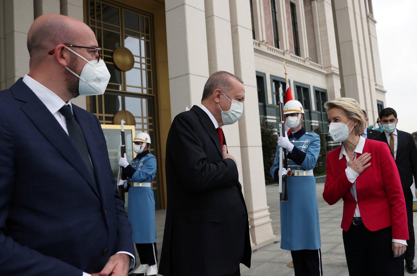 President Recep Tayyip Erdoğan (C) meets with European Council President Charles Michel (L) and European Commission President Ursula von der Leyen, in Ankara, Turkey, April 6, 2021. (Reuters Photo)