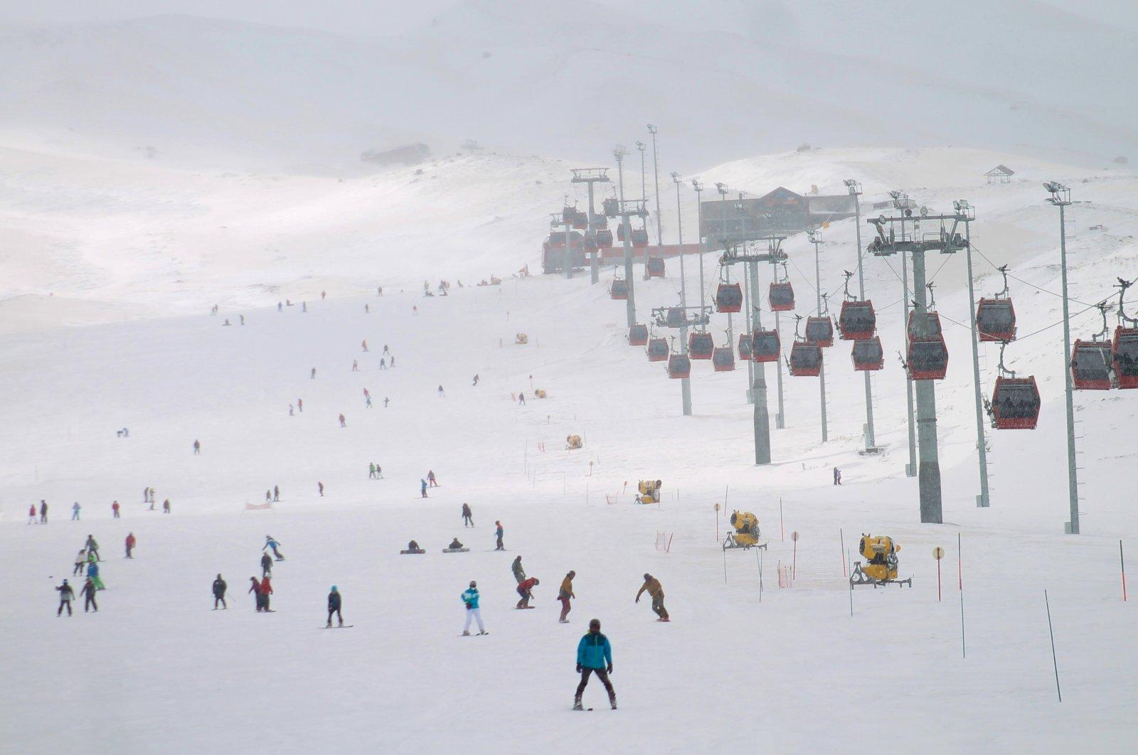 People ski at Erciyes Ski Resort, Kayseri, central Turkey, April 10, 2021. (AA Photo)