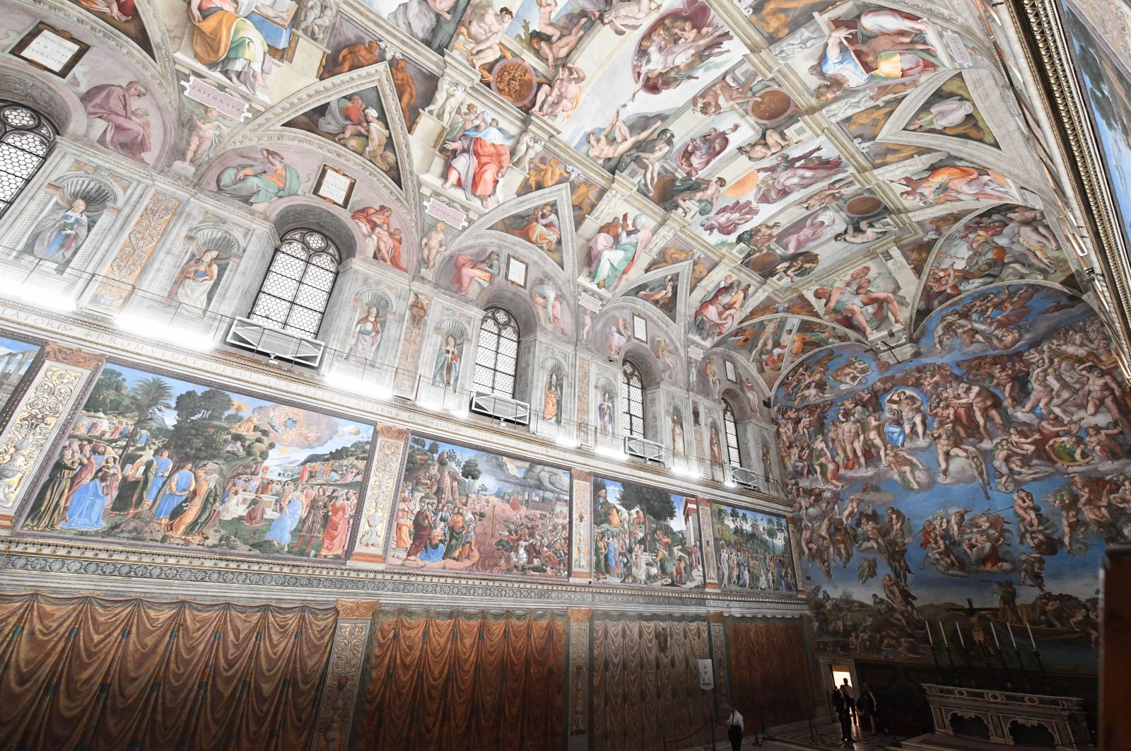 A photo showing the fine craftsmanship on the ceiling of the renowned Sistine Chapel, Rome, Italy. (DPA Photo)