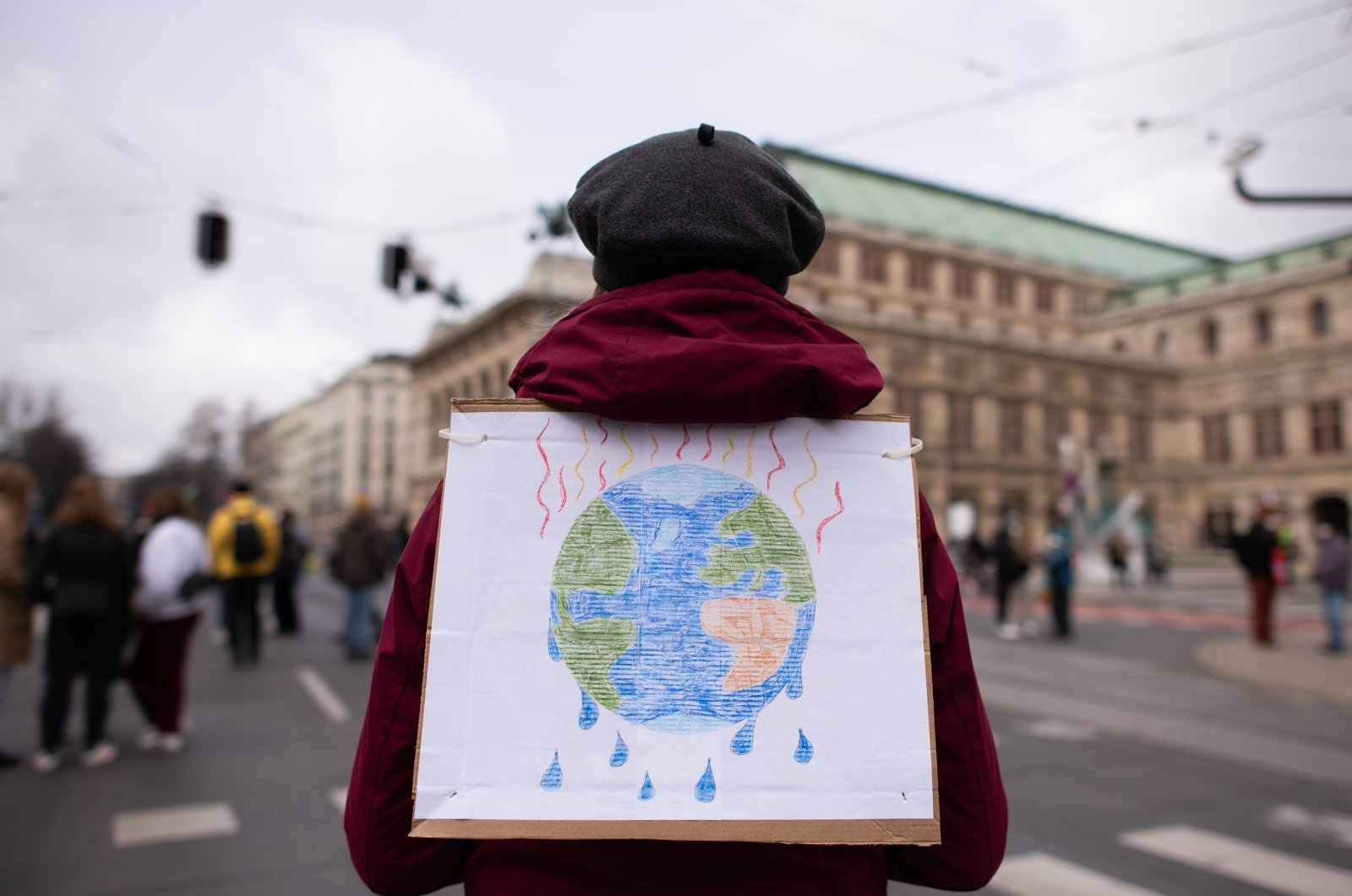 Supporters of the Fridays for Future movement protest to demand effective measures against global warming and climate change in Vienna, Austria, March 19, 2021. (Getty Images)