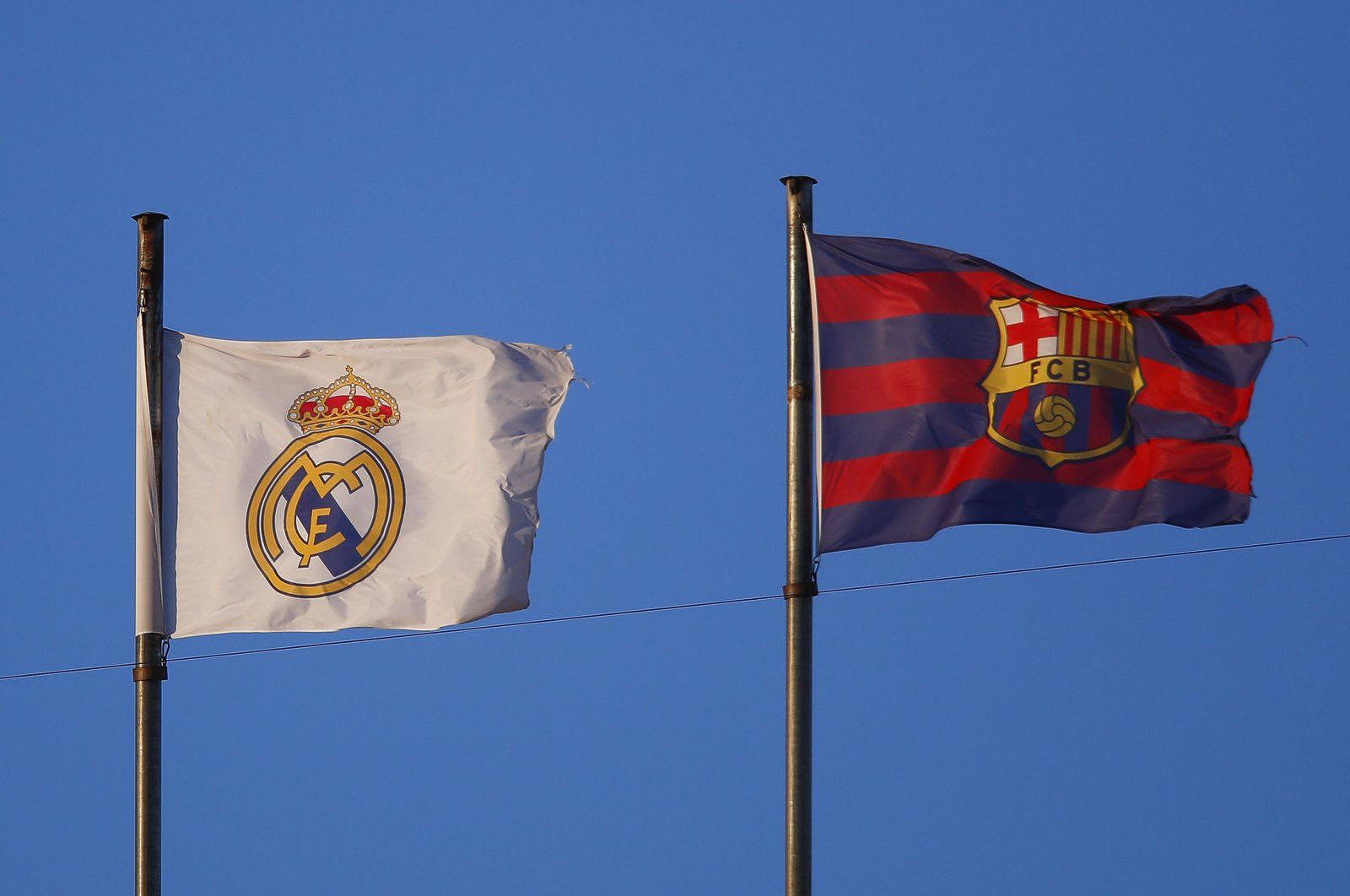 Real Madrid and FC Barcelona flags are seen during the La Liga Santander match between Valencia CF and Elche CF at Estadio Mestalla, in Valencia, Spain, Jan. 30, 2021. (Getty Images)